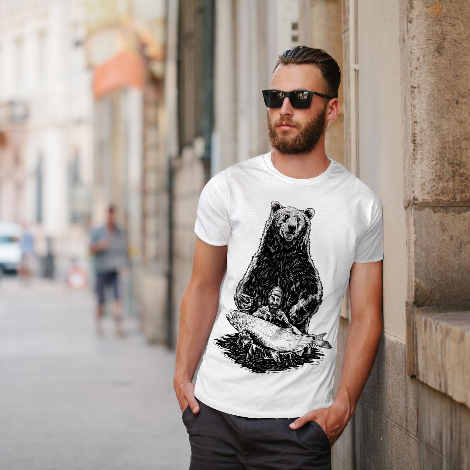miniature 11 - Wellcoda Fishing Bear Angler Mens T-shirt, Grizzly Graphic Design Printed Tee
