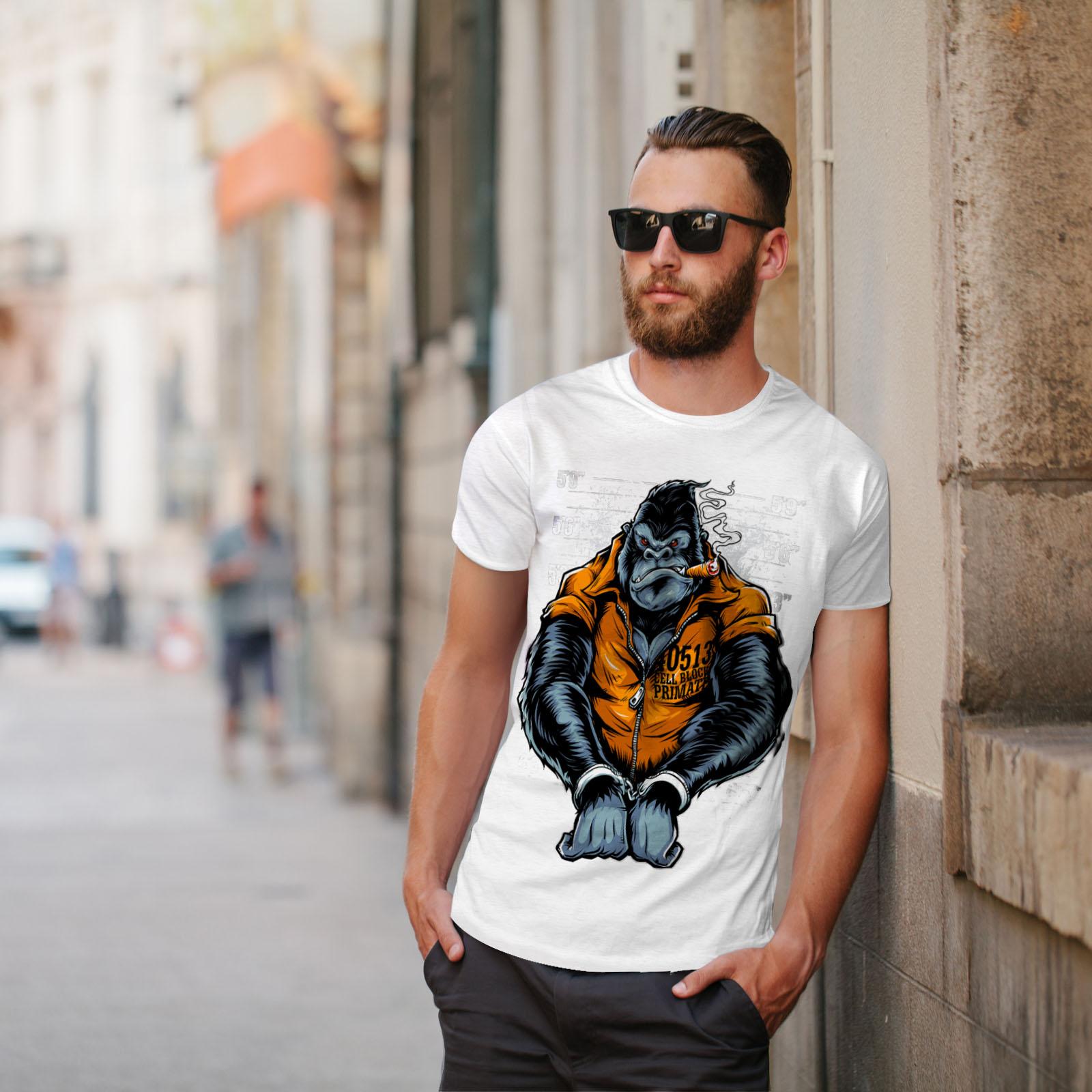Wellcoda-Monkey-Ape-Prison-Mens-T-shirt-Wild-Graphic-Design-Printed-Tee thumbnail 11