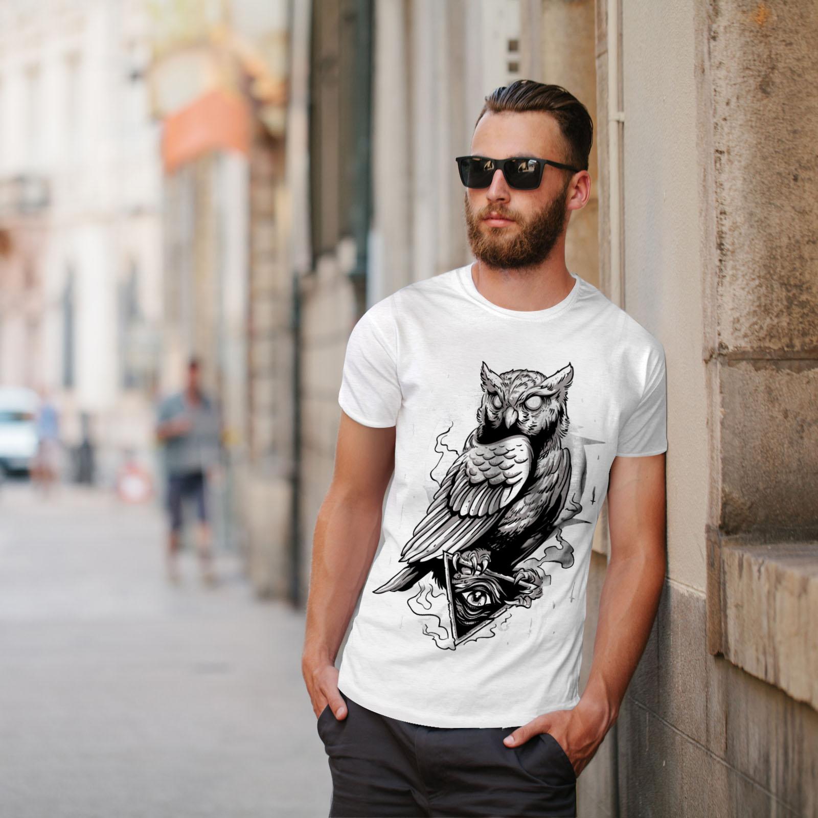 miniature 11 - Wellcoda Triangle Owl Mens T-shirt, Conspiracy Graphic Design Printed Tee