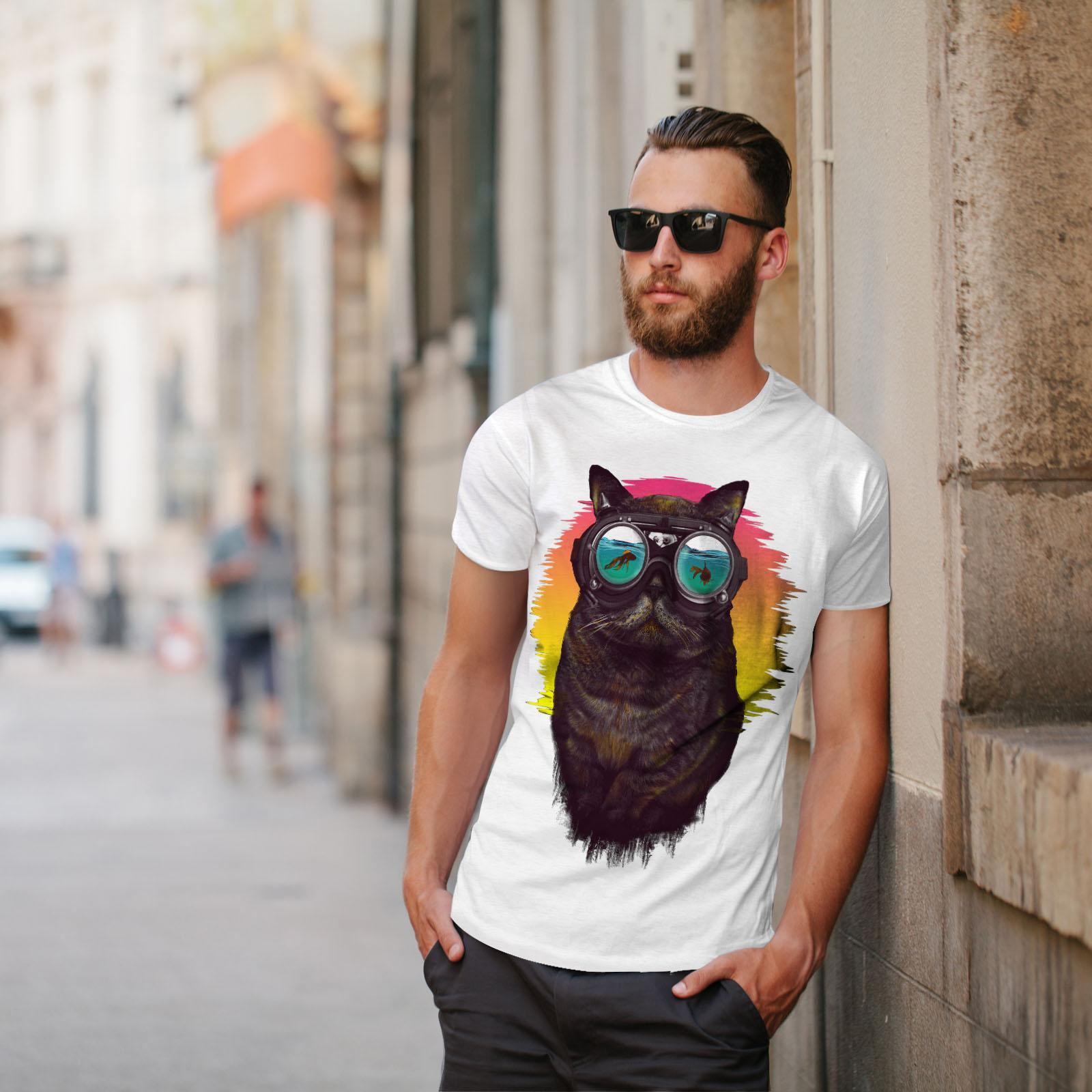 Wellcoda-Hippie-Glasses-Cool-Cat-Mens-T-shirt-Fish-Graphic-Design-Printed-Tee thumbnail 11