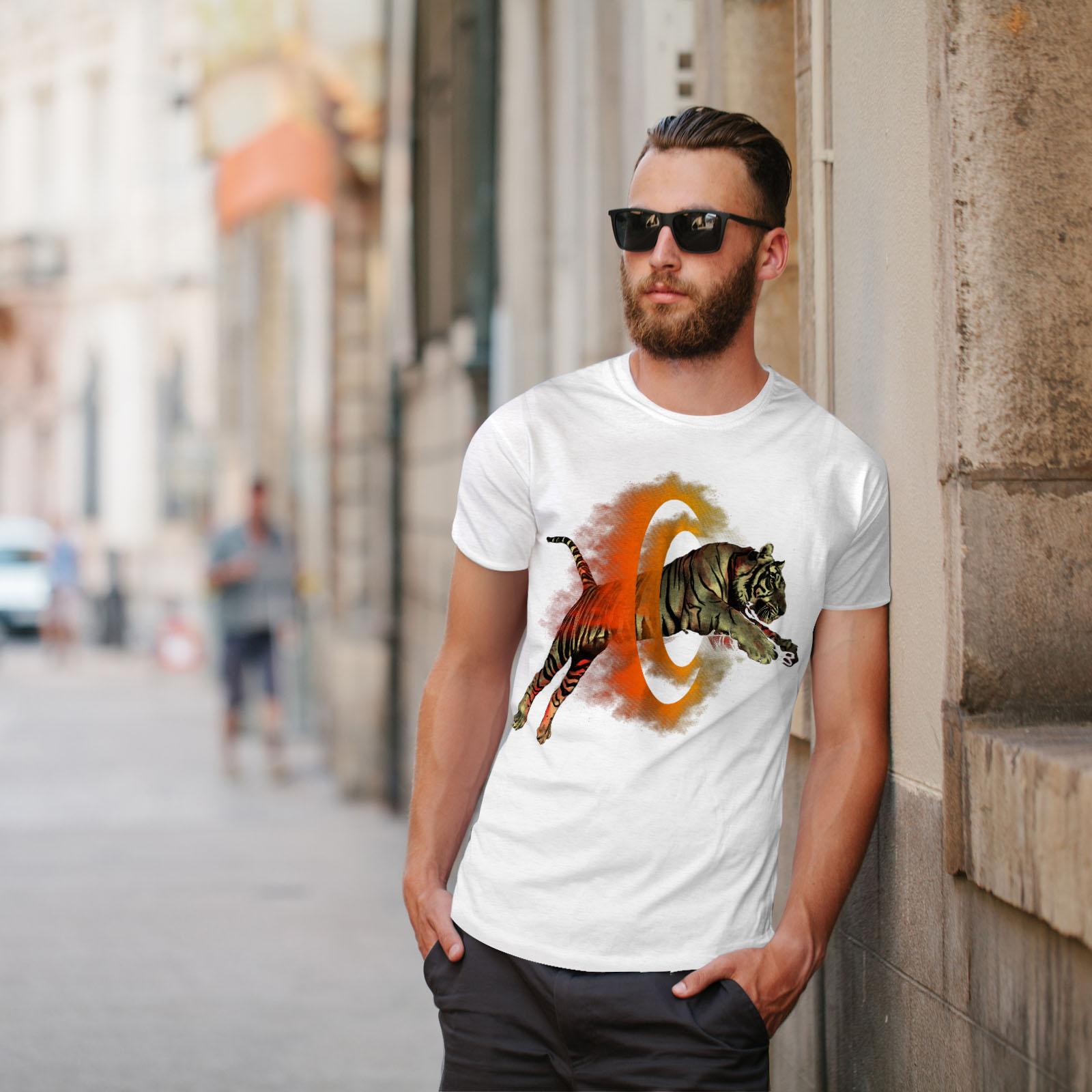 Wellcoda-Tiger-Portal-Cool-Mens-T-shirt-Flame-Graphic-Design-Printed-Tee thumbnail 11