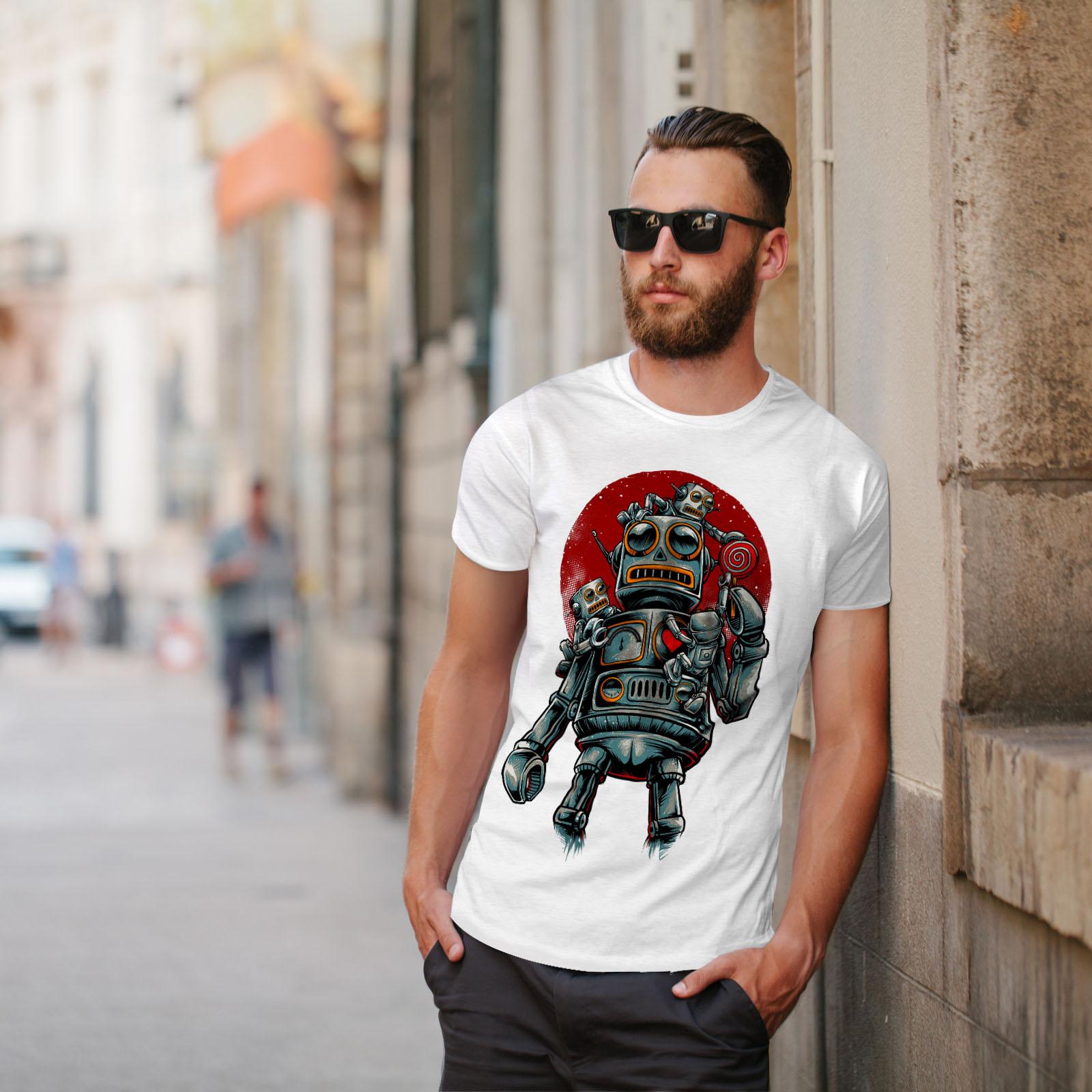 0 Graphic Design Stampato Tee Wellcoda ROBOT Sole Rosso Moda Da Uomo T-shirt