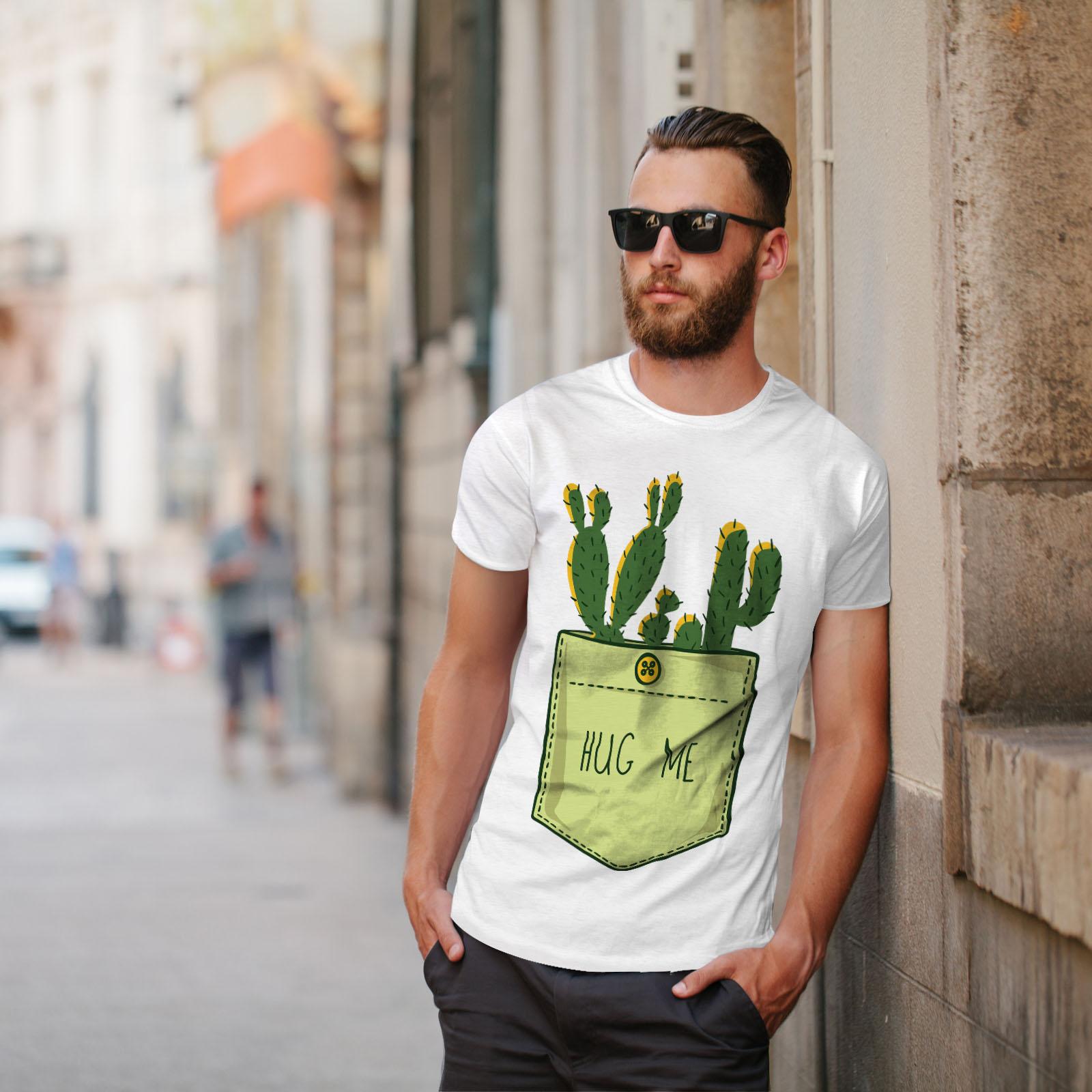 miniature 11 - Wellcoda Hug Me Cactus Funny Mens T-shirt,  Graphic Design Printed Tee