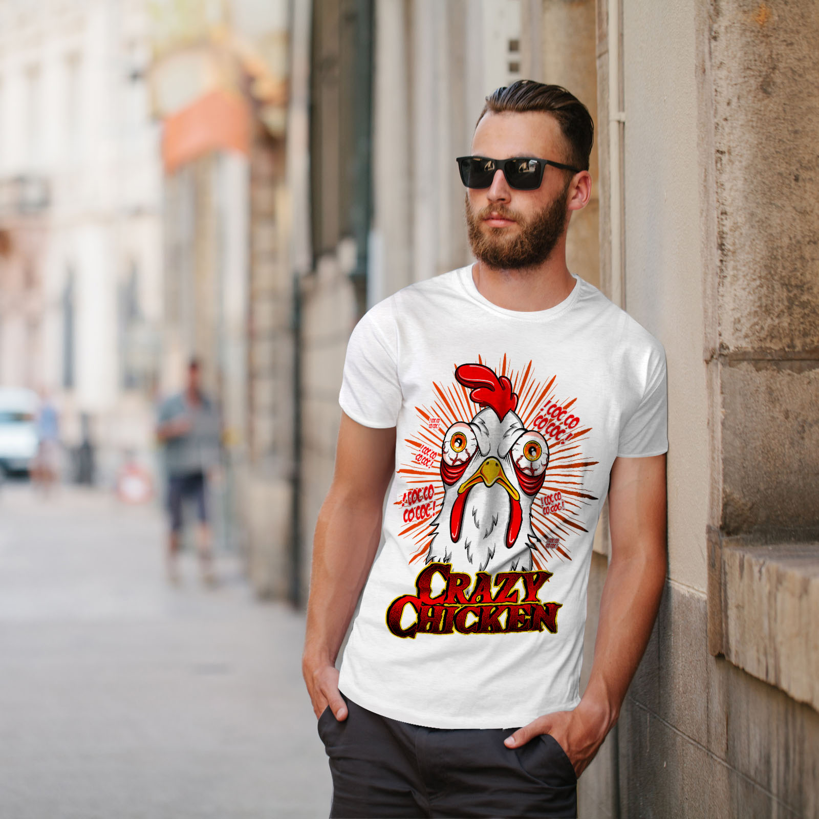thumbnail 11 - Wellcoda-Crazy-Chicken-Mens-T-shirt-Funny-Face-Graphic-Design-Printed-Tee