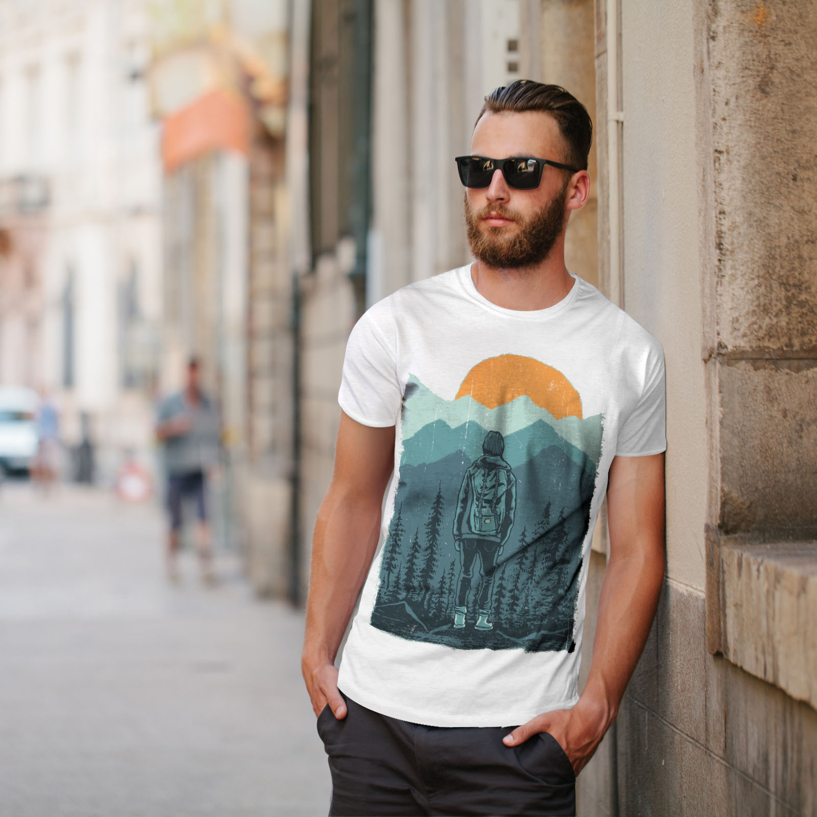 Wellcoda-SUNSET-Wilderness-CAMP-Da-Uomo-T-shirt-Wild-design-grafico-stampato-T-shirt miniatura 11