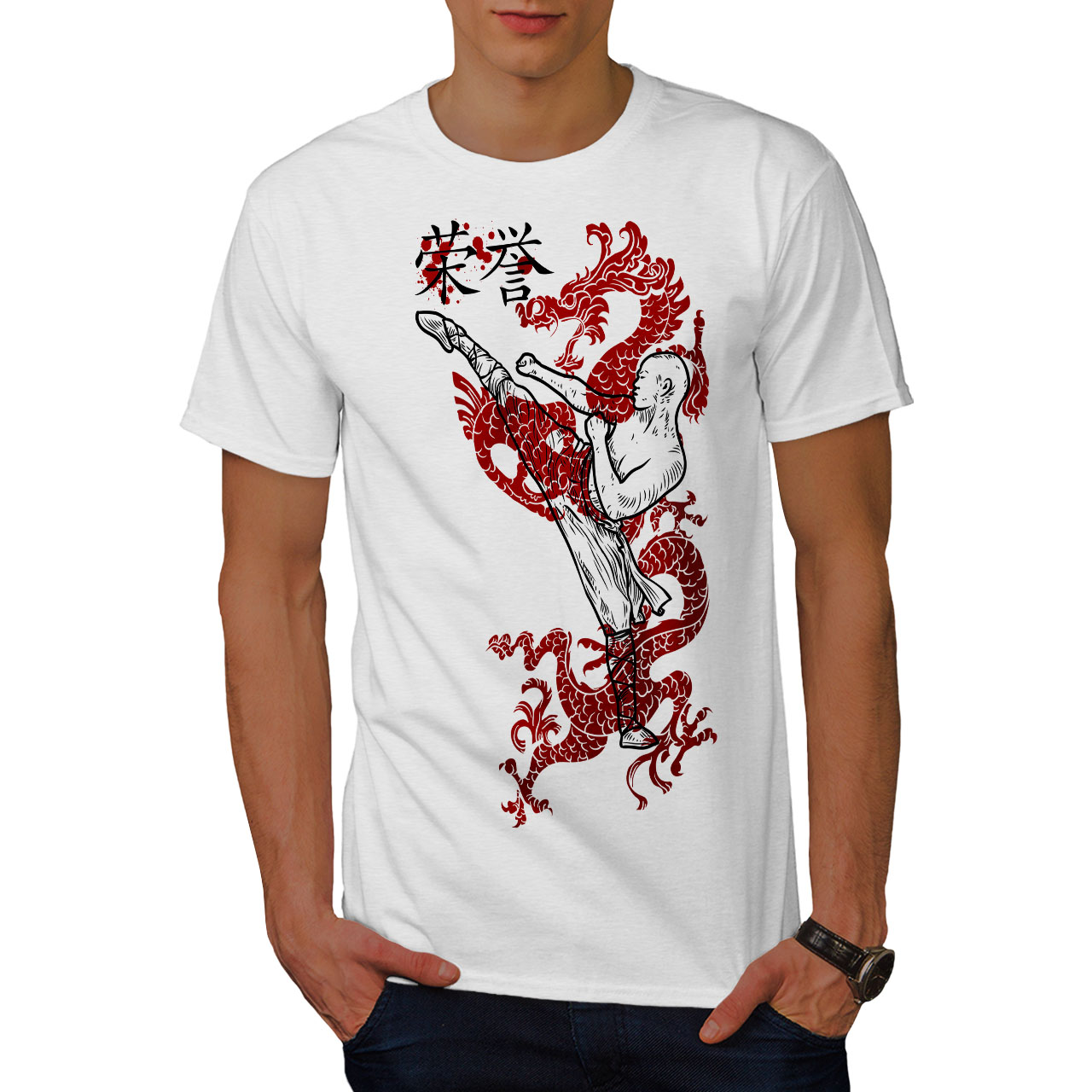 Wellcoda Katana Ninja Mens T-shirt Hieroglyph Graphic Design Printed Tee