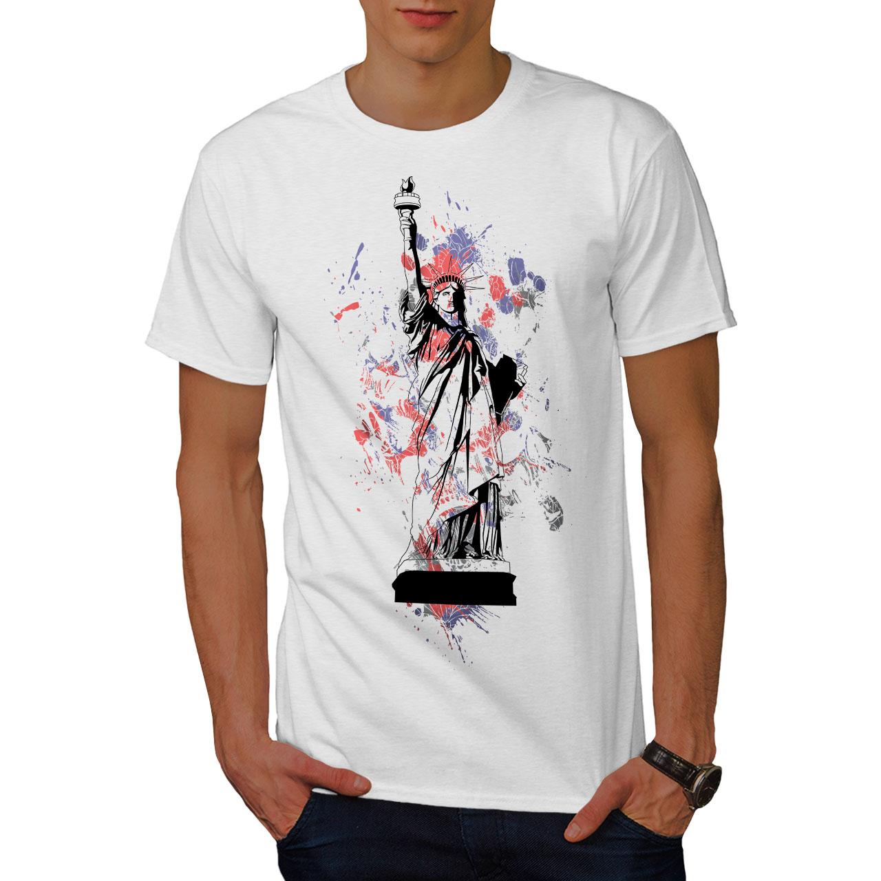 008a54efcf58 Image is loading Wellcoda-Statue-Liberty-New-York-Mens-T-shirt-