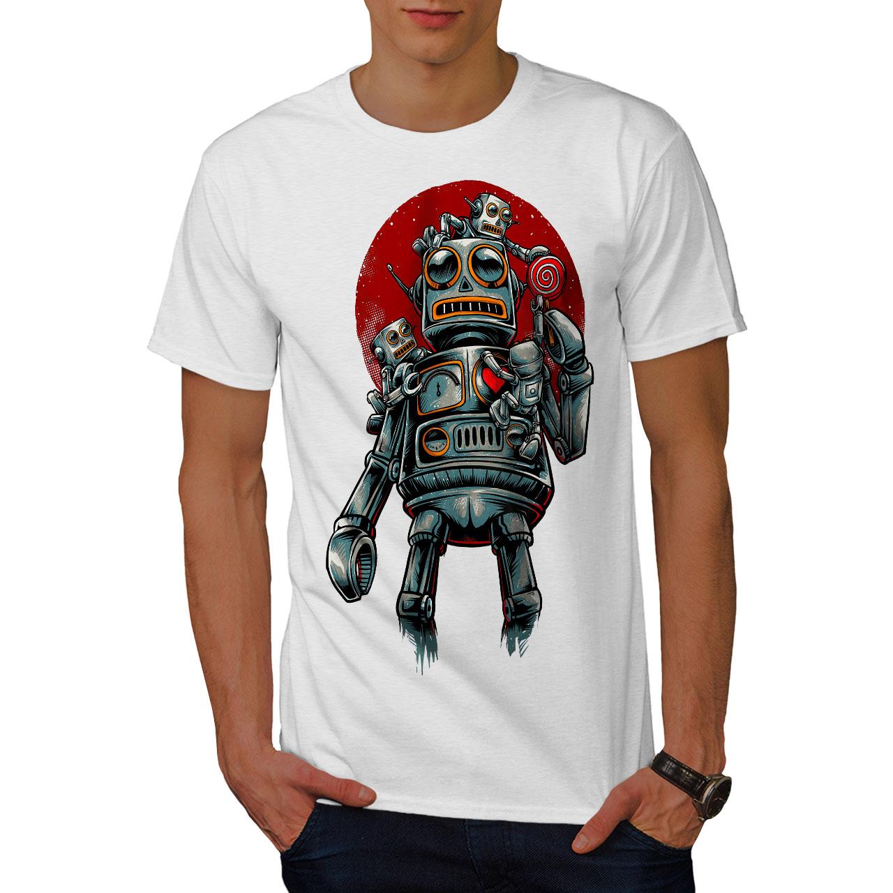 miniature 9 - Wellcoda Crazy Robot Mens T-shirt, Mechanical Graphic Design Printed Tee