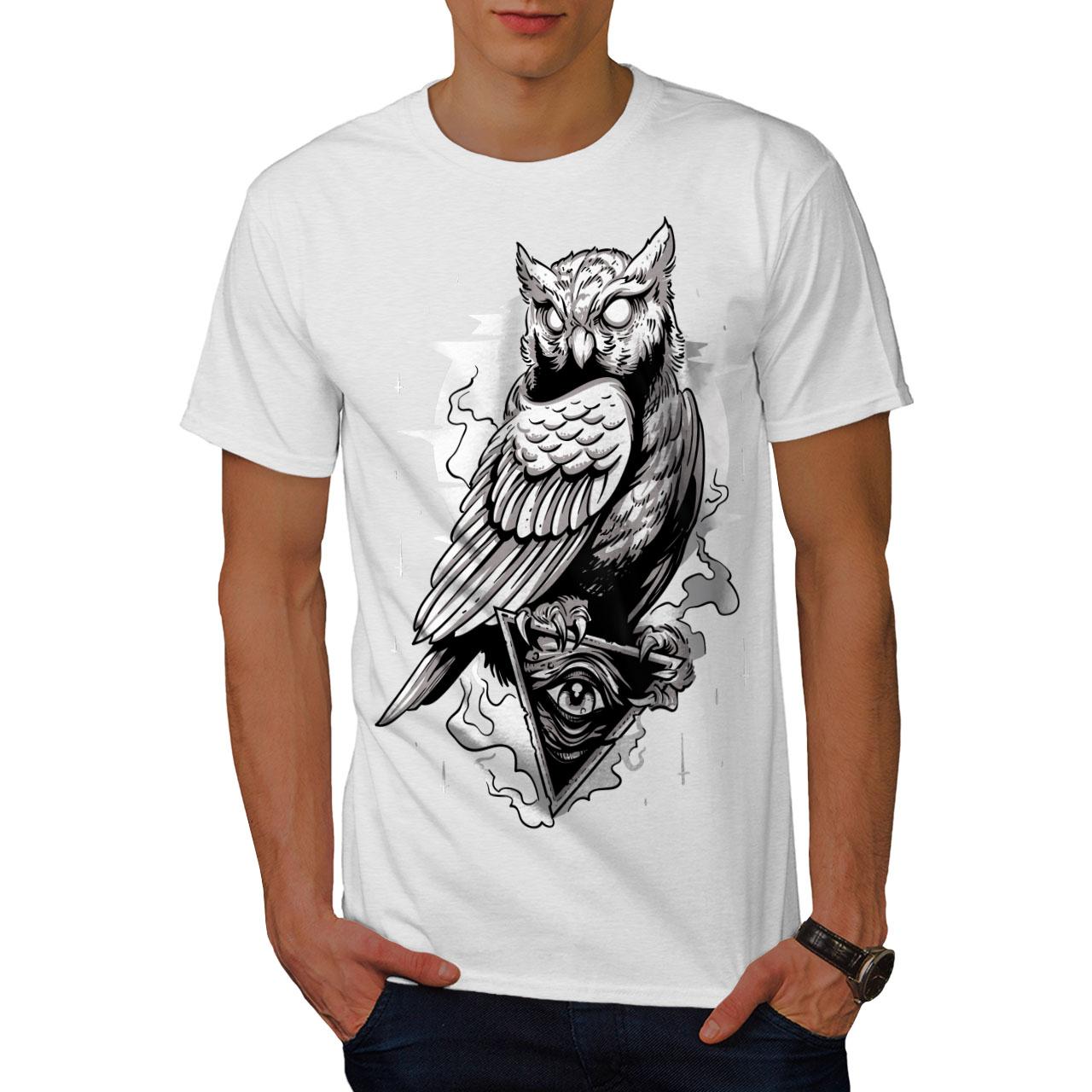 miniature 9 - Wellcoda Triangle Owl Mens T-shirt, Conspiracy Graphic Design Printed Tee