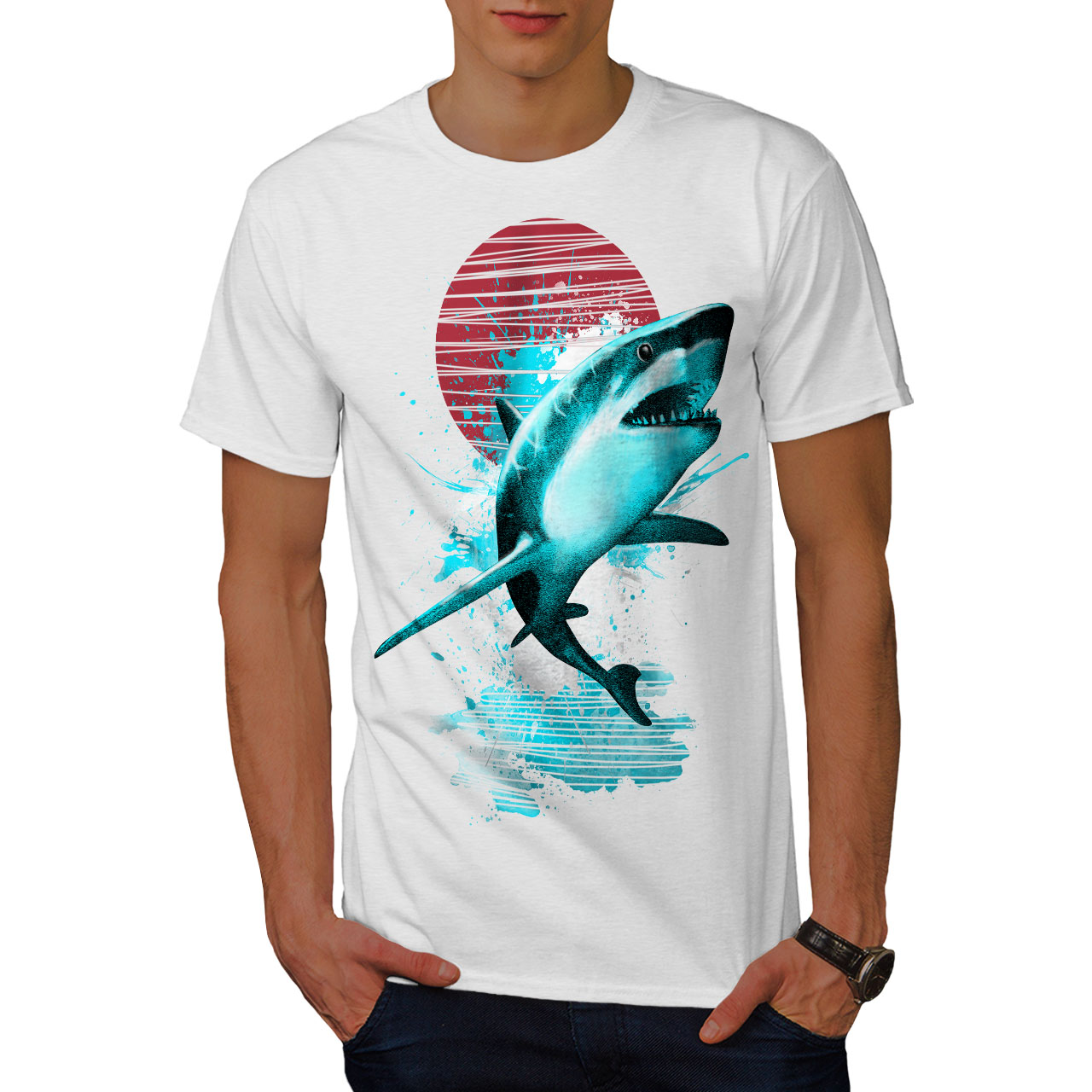 Oceano Hunt design grafico stampato T-shirt Wellcoda Grande Squalo Bianco Da Uomo T-shirt