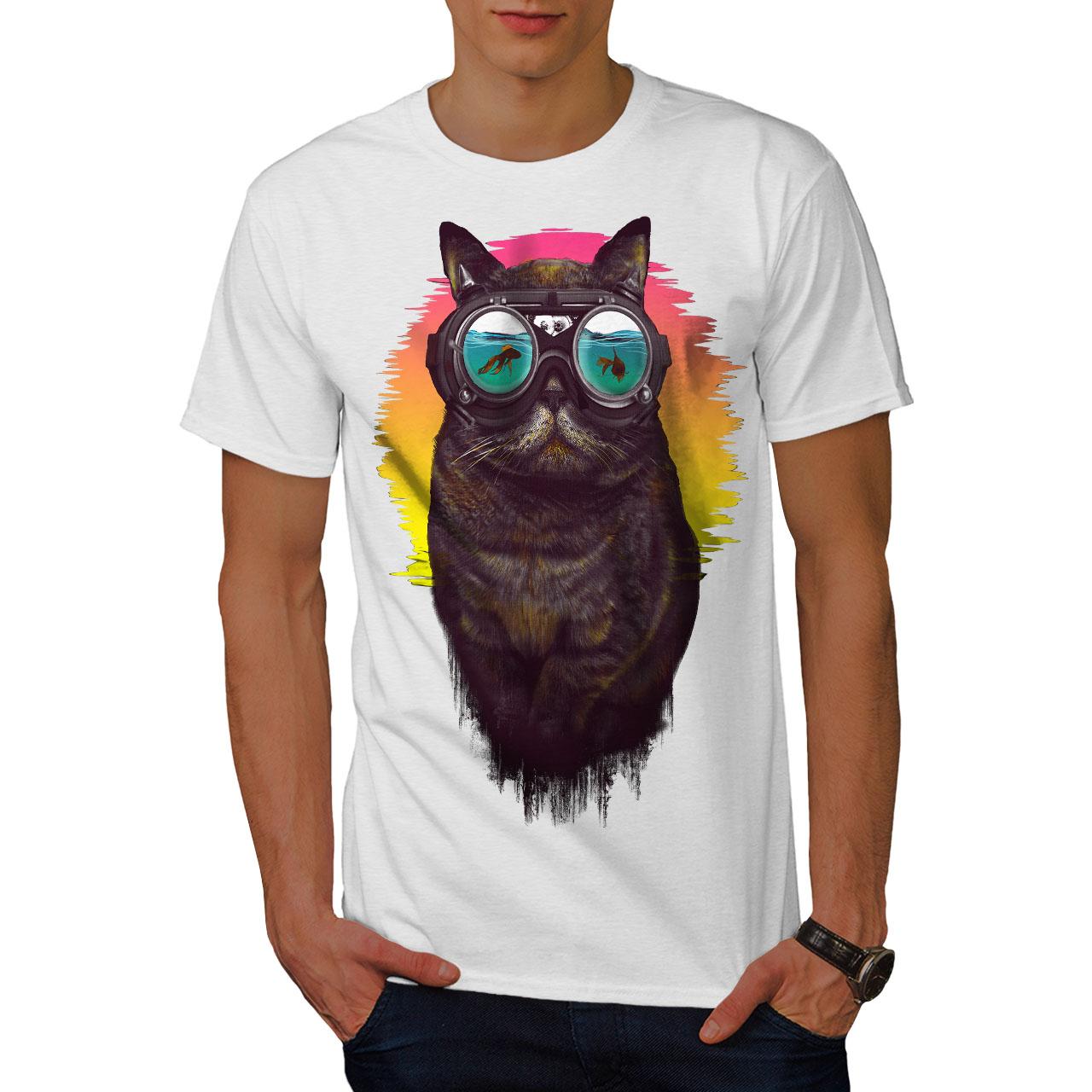 Wellcoda-Hippie-Glasses-Cool-Cat-Mens-T-shirt-Fish-Graphic-Design-Printed-Tee thumbnail 9