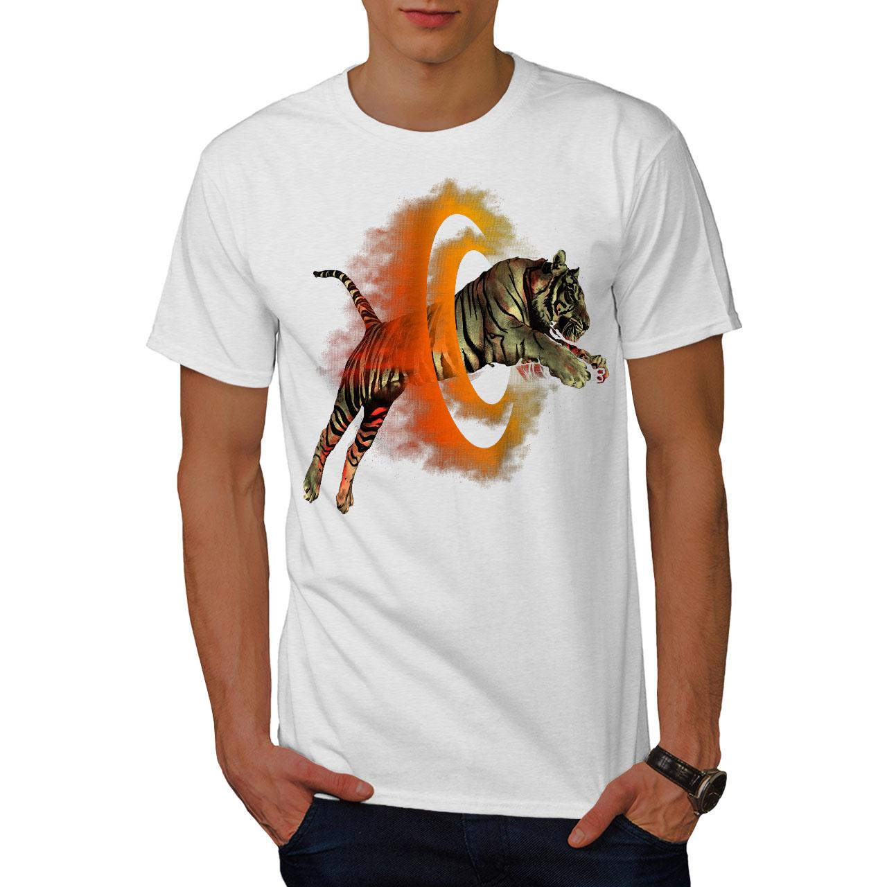Wellcoda-Tiger-Portal-Cool-Mens-T-shirt-Flame-Graphic-Design-Printed-Tee thumbnail 9