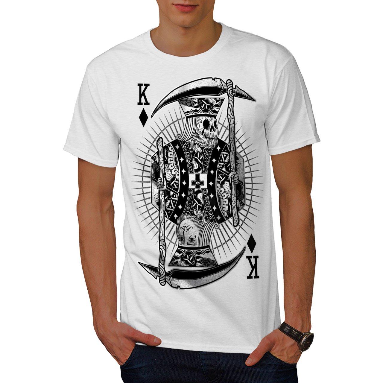 Wellcoda-Poker-Horror-King-Skull-Mens-T-shirt-Graphic-Design-Printed-Tee thumbnail 9