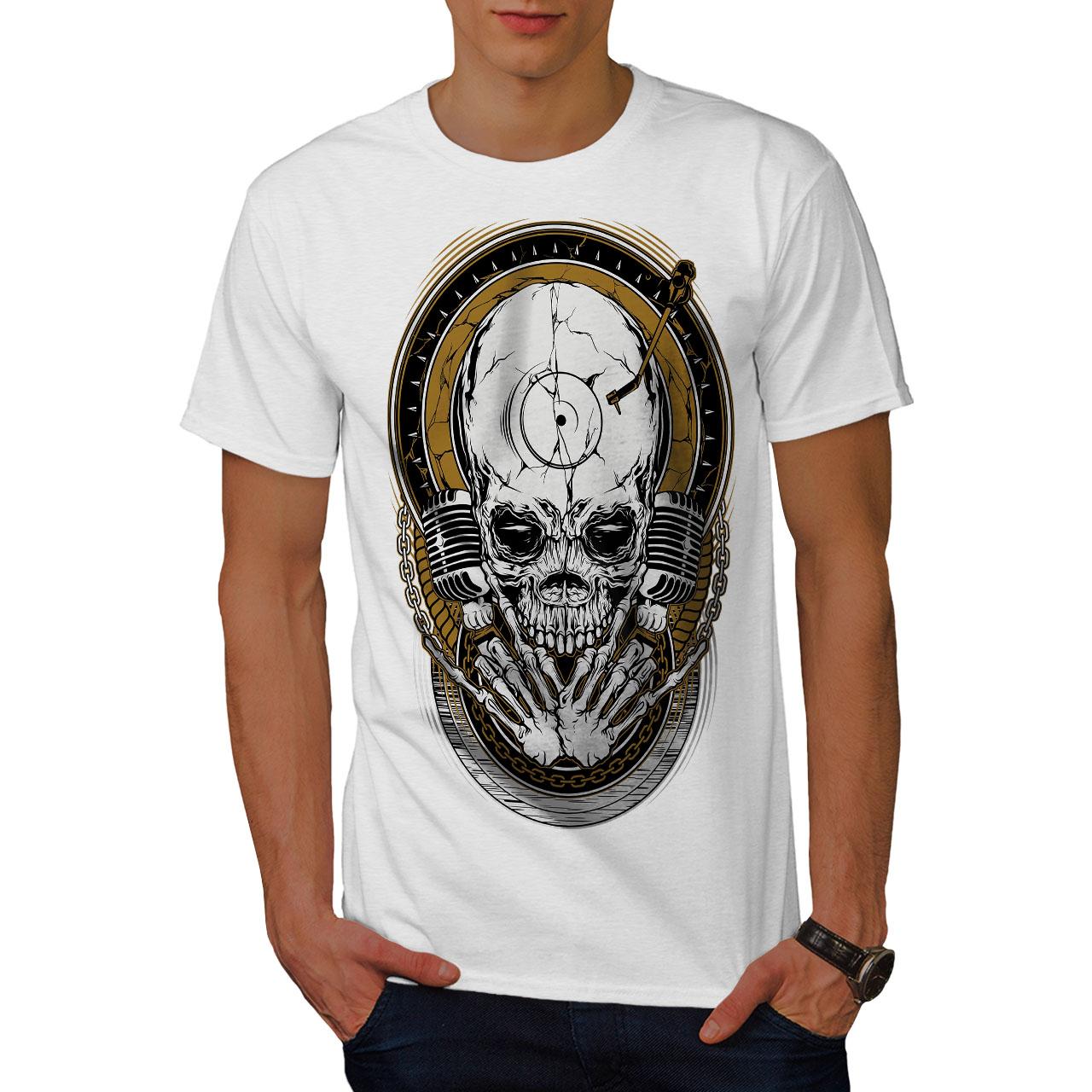 Wellcoda Death Rock Music Skull Mens T-shirt Graphic Design Printed Tee