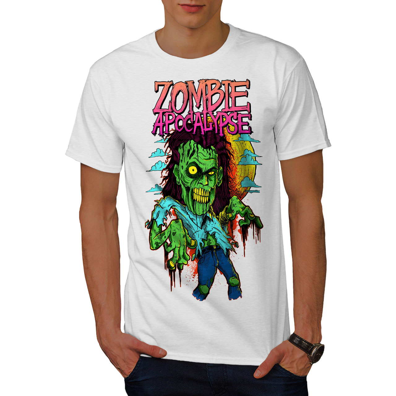 Wellcoda-Zombie-Apocalypse-Horror-Mens-T-shirt-Graphic-Design-Printed-Tee thumbnail 9