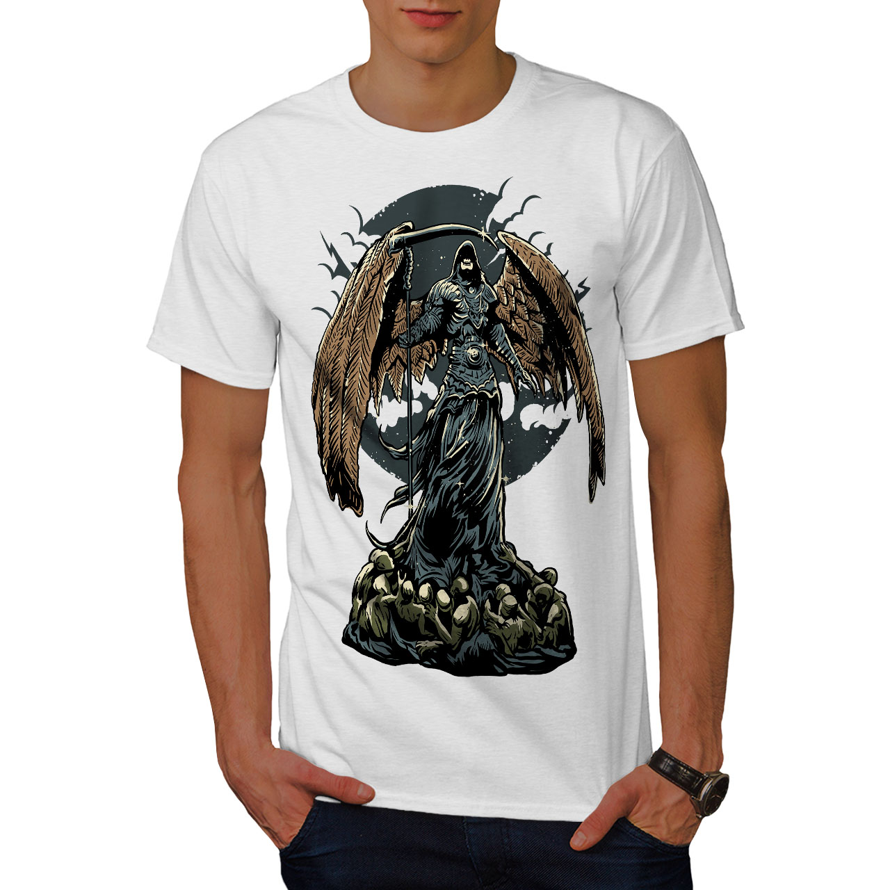 Wellcoda-Evil-Grim-Reaper-Mens-T-shirt-Horror-Graphic-Design-Printed-Tee thumbnail 9
