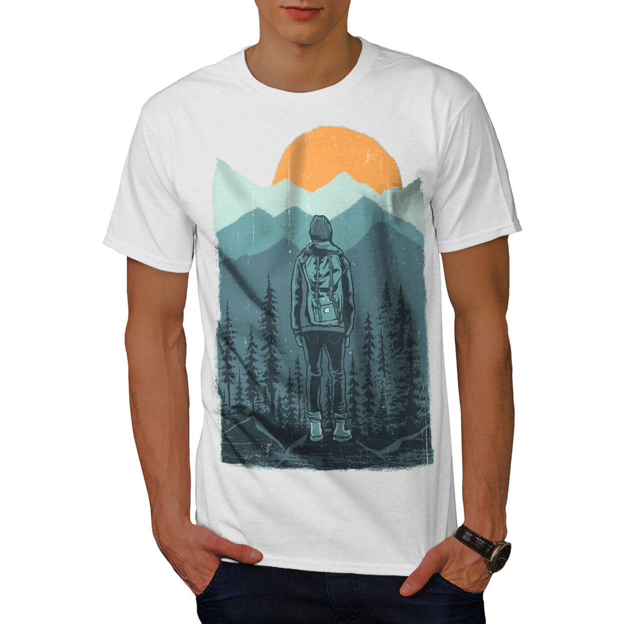Wellcoda-SUNSET-Wilderness-CAMP-Da-Uomo-T-shirt-Wild-design-grafico-stampato-T-shirt miniatura 9