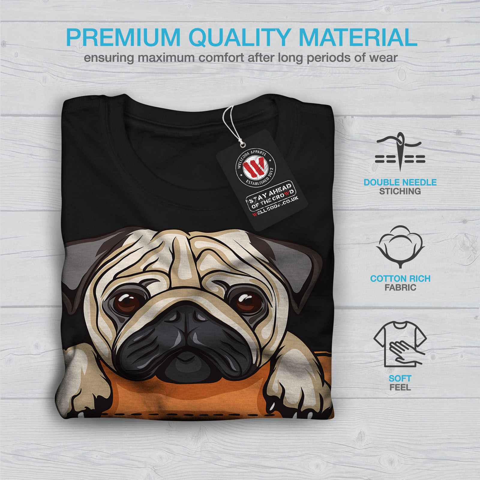 Details about Wellcoda Pug Puppy In Pocket Mens Long Sleeve T-shirt, Cute  Graphic Design