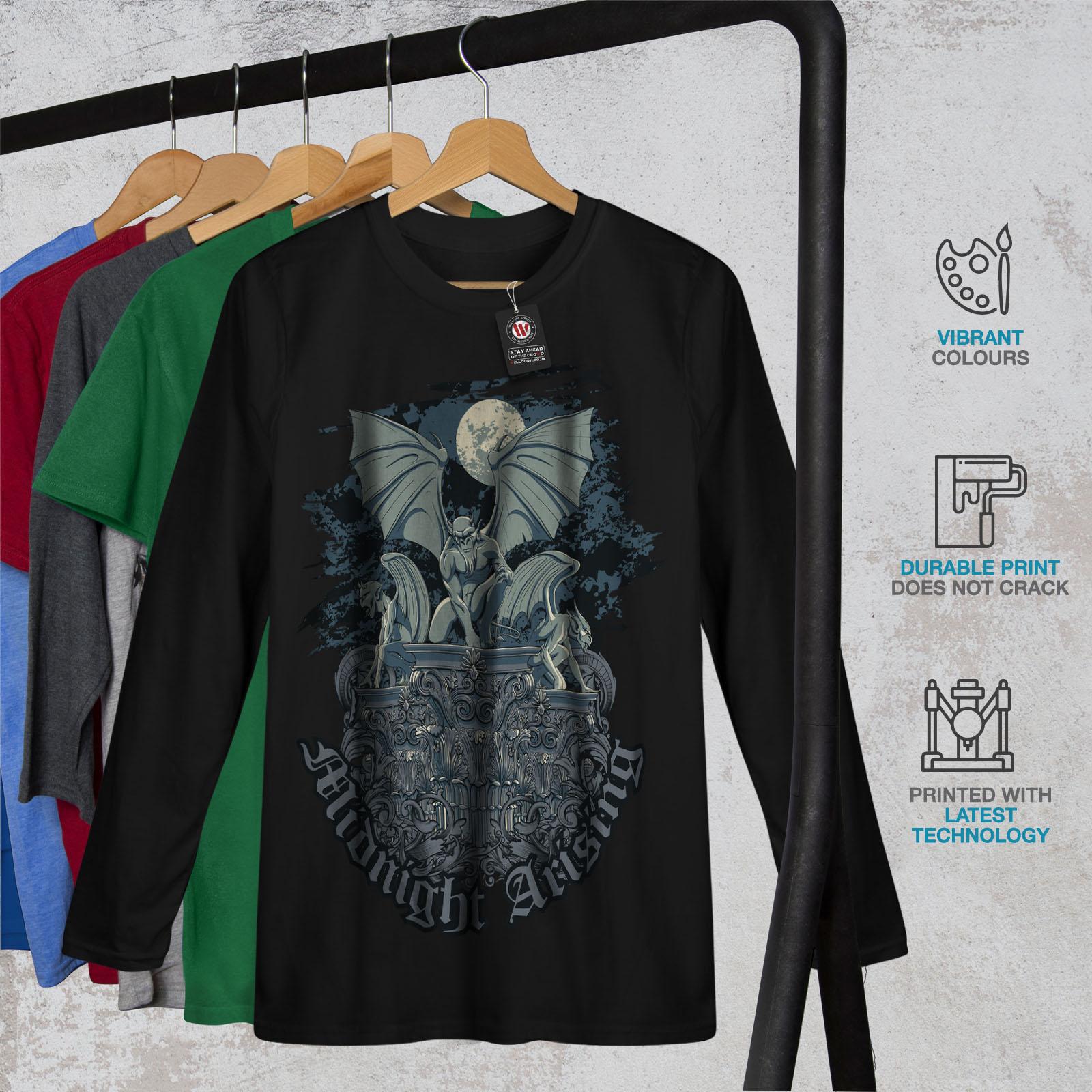 Gargoyle Graphic Design Printed Tee Wellcoda Midnight Demon Mens T-shirt