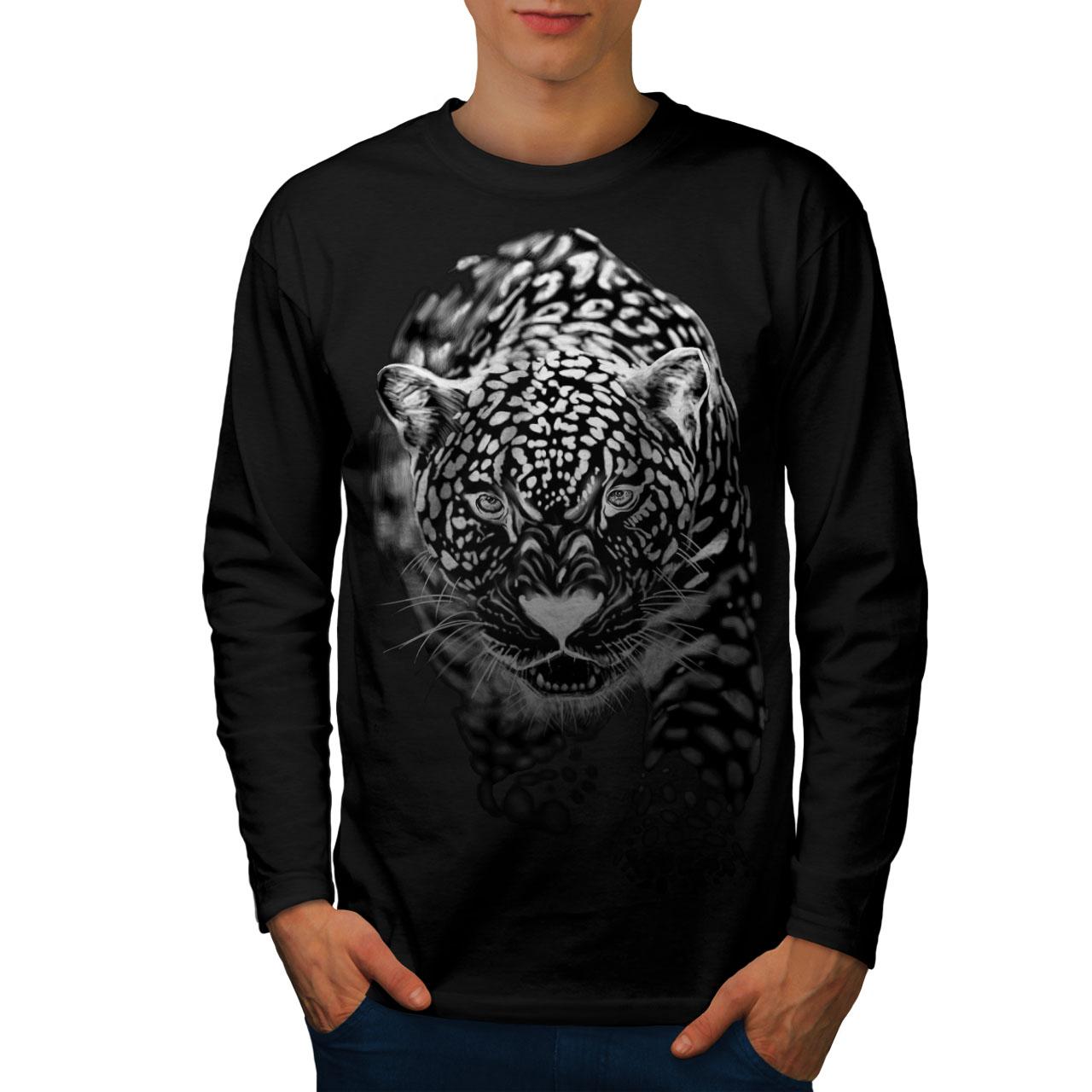 Cat Graphic Design Wellcoda Cougar Killer Mens Long Sleeve T-shirt