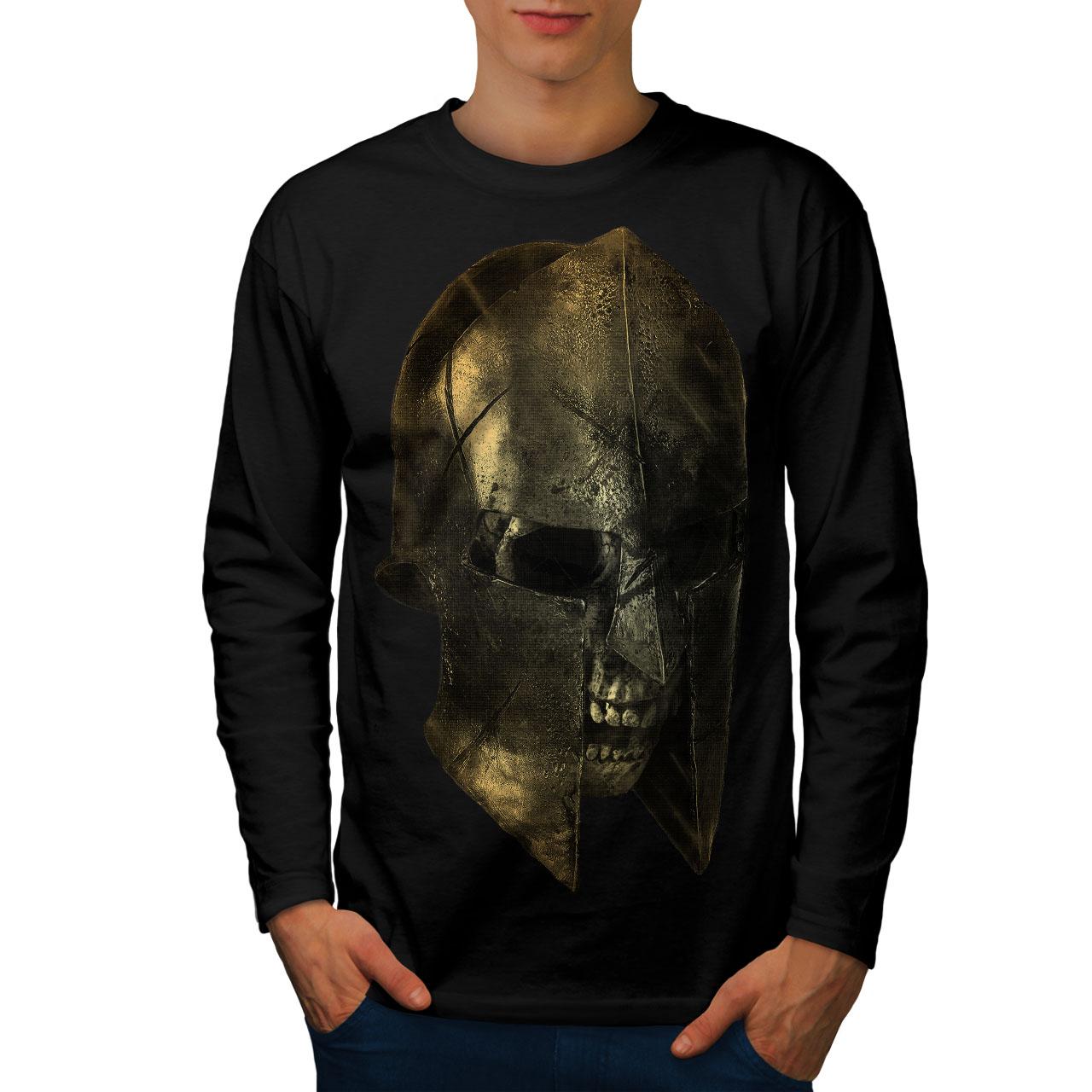 Wellcoda-Skull-Sparta-Warrior-Mens-Long-Sleeve-T-shirt-Battle-Graphic-Design