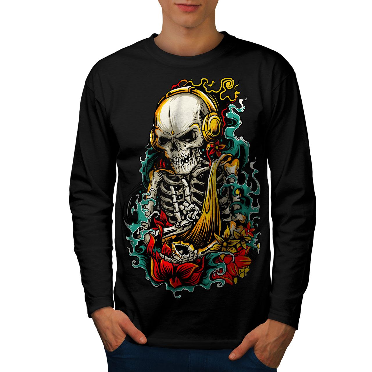 Wellcoda Skeleton Hand Rock Skull Mens Long Sleeve T shirt