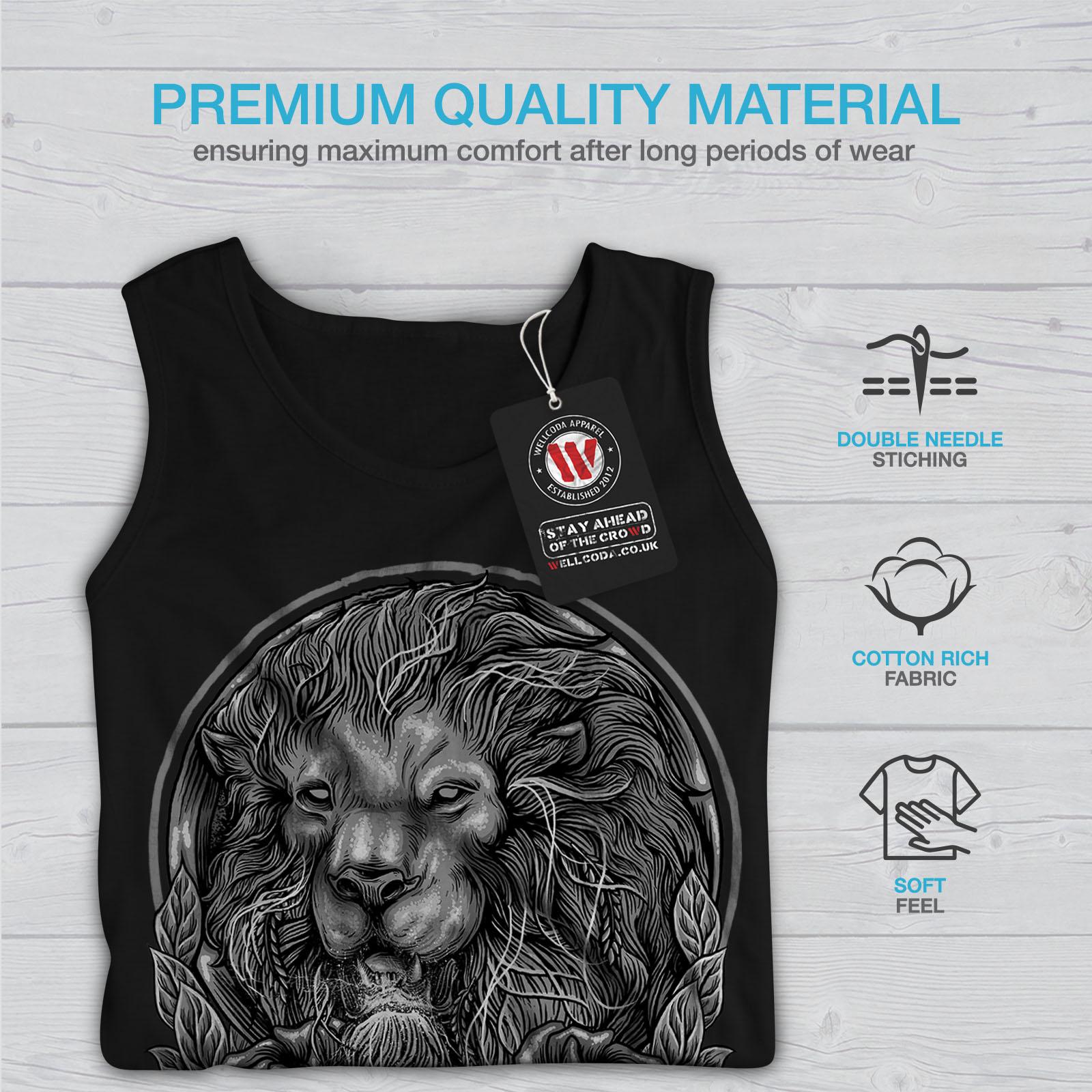 Active Sports Shirt Wellcoda Beast Animal Lion King Mens Tank Top