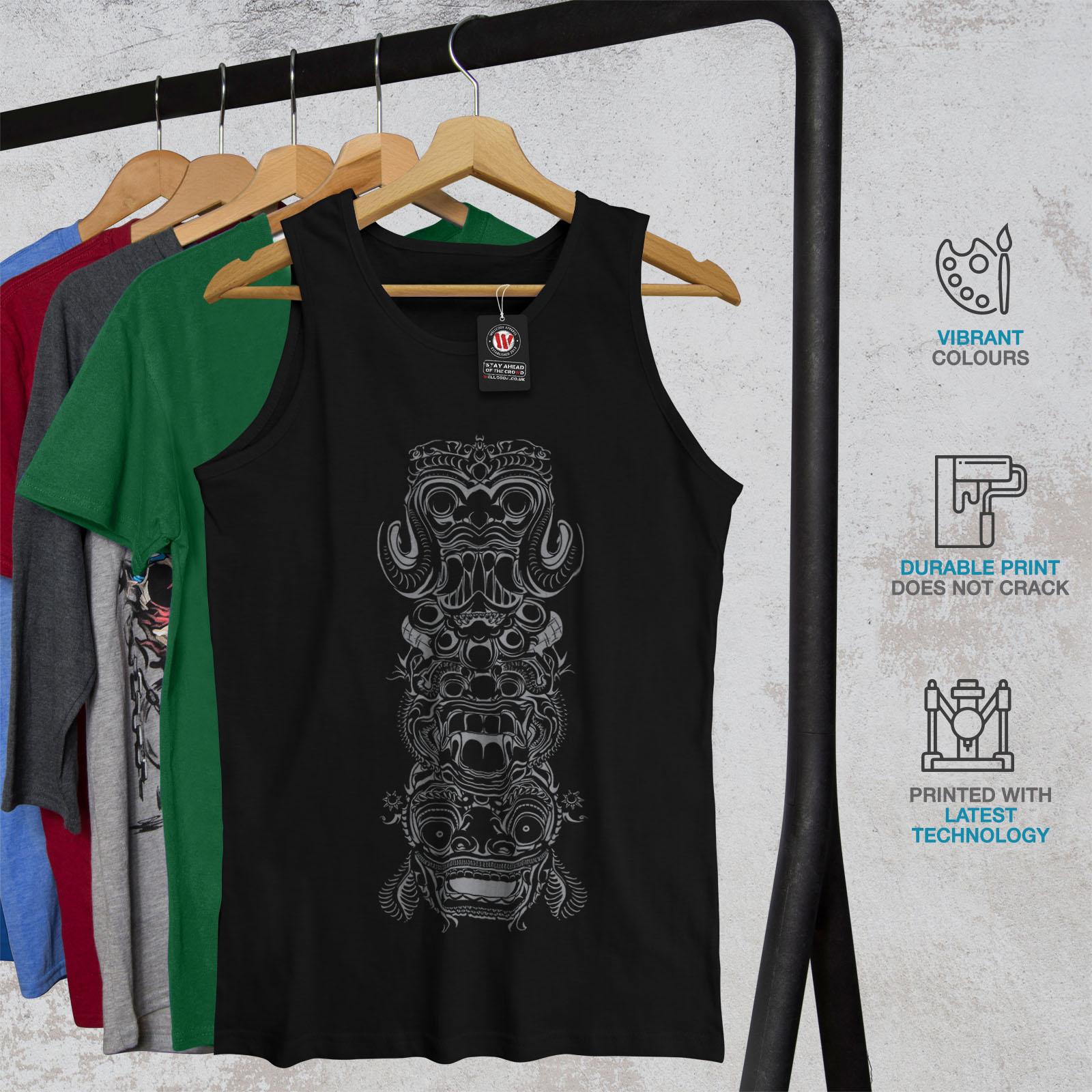 Wellcoda Spiritual Totem Fashion Mens Tank Top Bali Active Sports Shirt