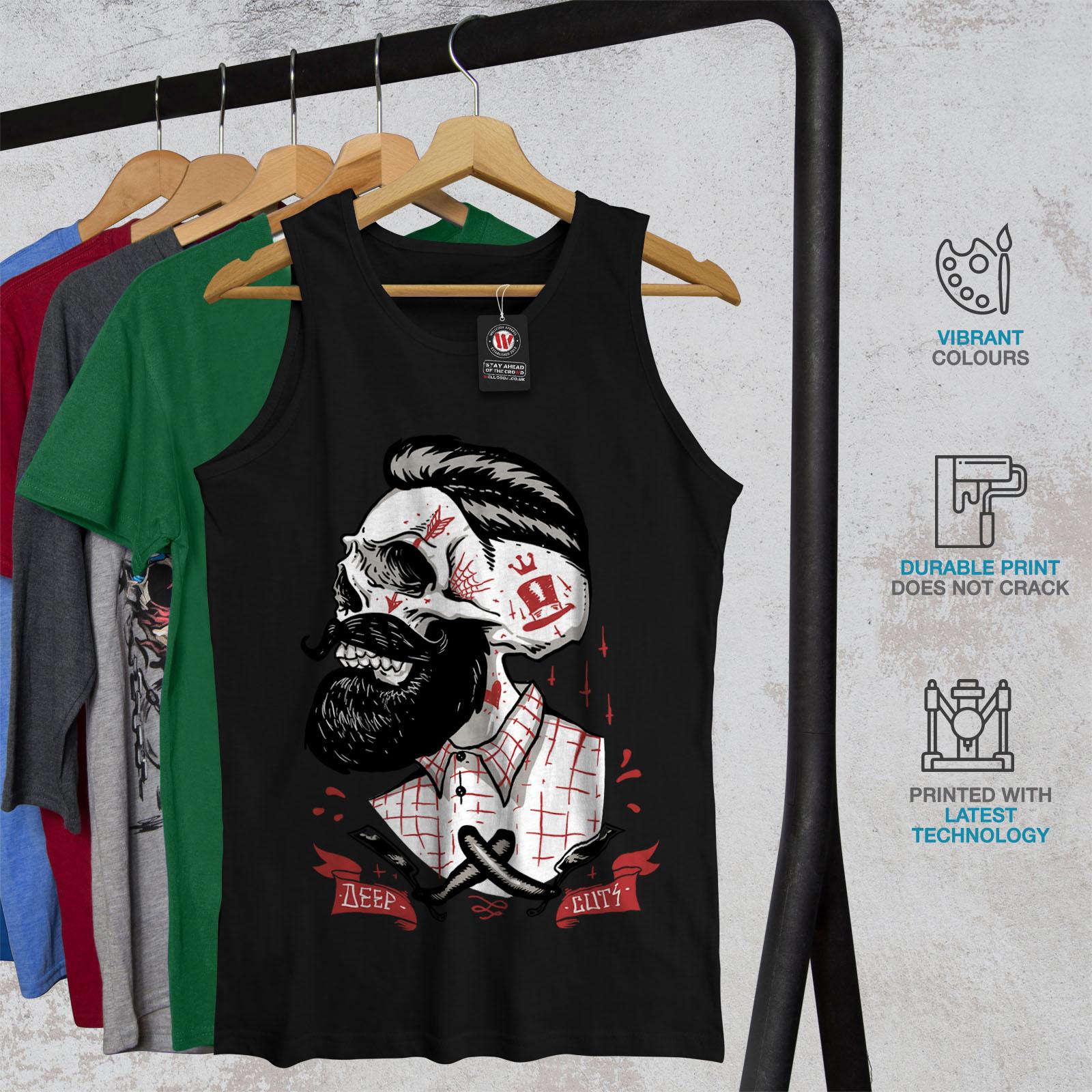 Wellcoda-Skull-Hippie-Beard-Mens-Tank-Top-Movement-Active-Sports-Shirt thumbnail 4