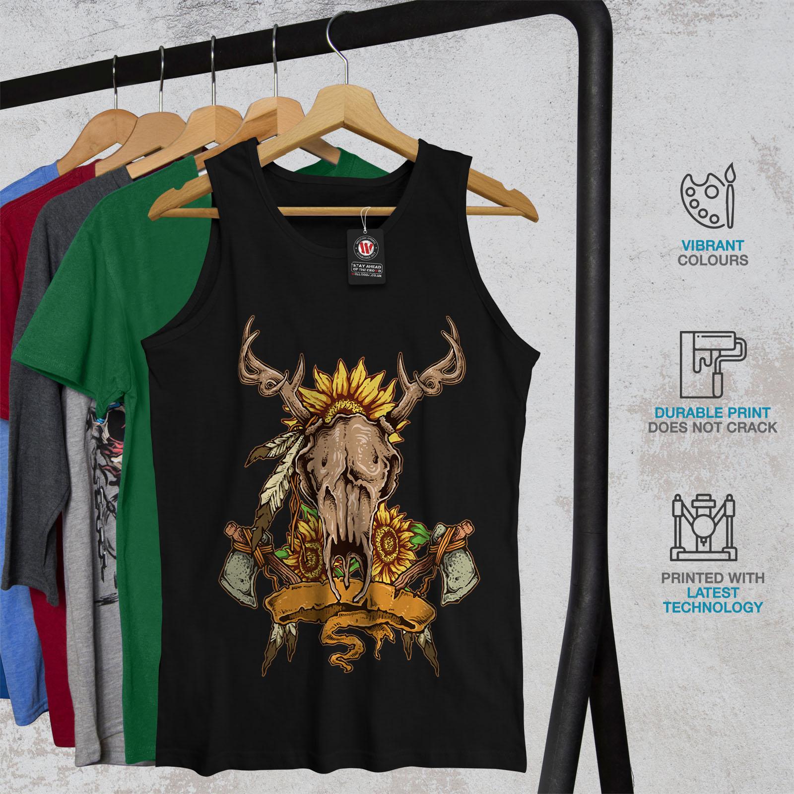 Cervi Animale Camicia di Sport Attivo Wellcoda Native Indiano da Uomo Canotta