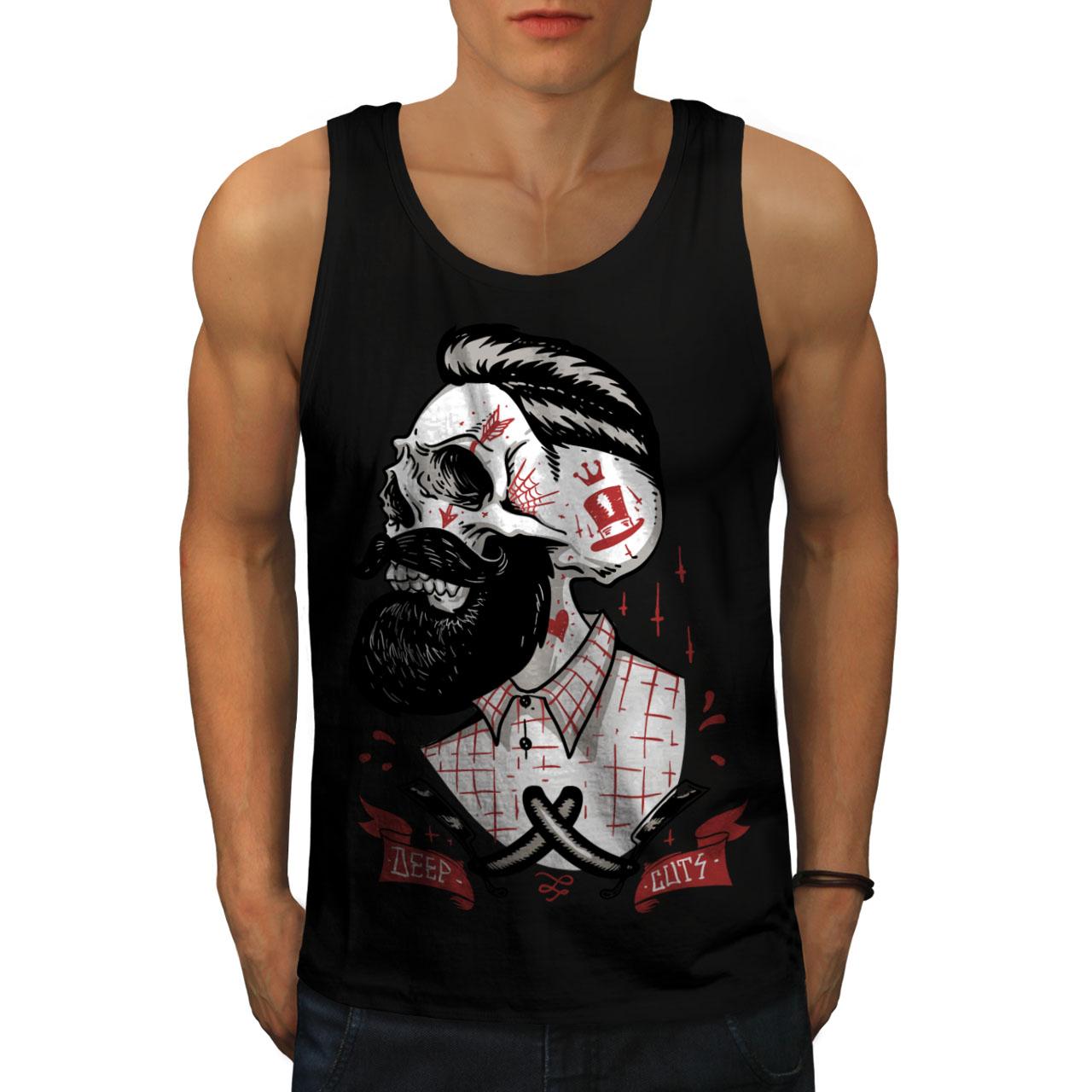 Wellcoda-Skull-Hippie-Beard-Mens-Tank-Top-Movement-Active-Sports-Shirt thumbnail 3