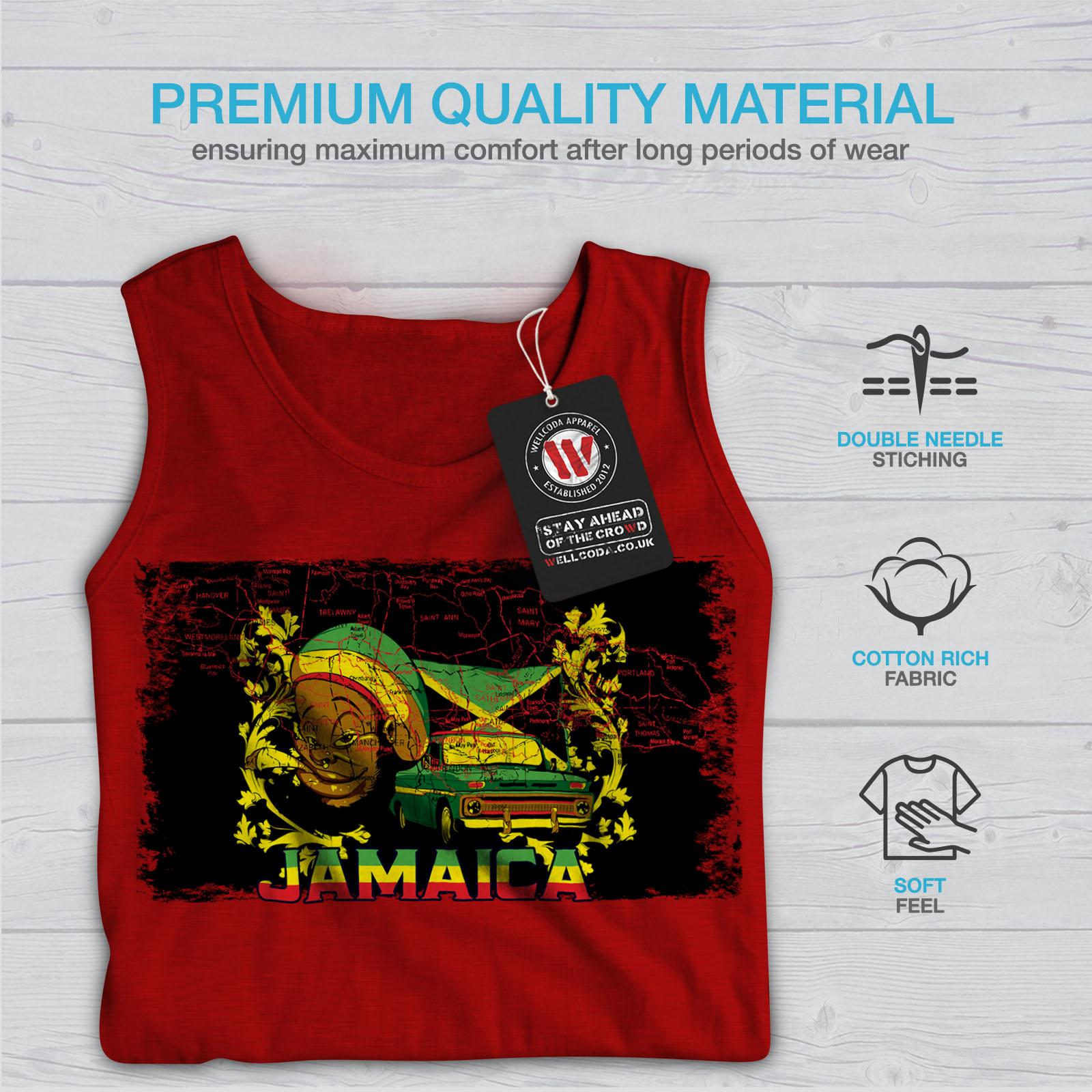 Carribean Active Sports Shirt Wellcoda Jamaïque Rasta Homme Tank Top