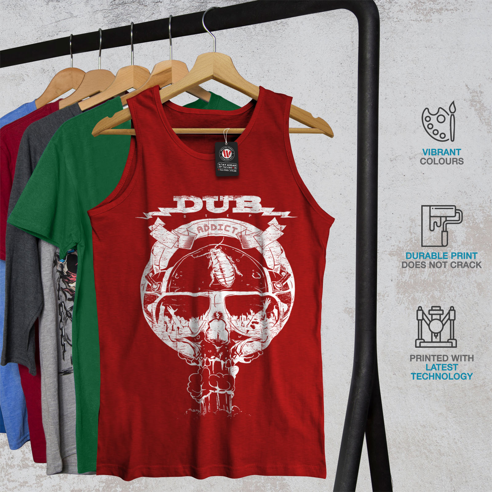 Wellcoda Dub Addicted mort Homme Tank Top électronique Active Sports Shirt