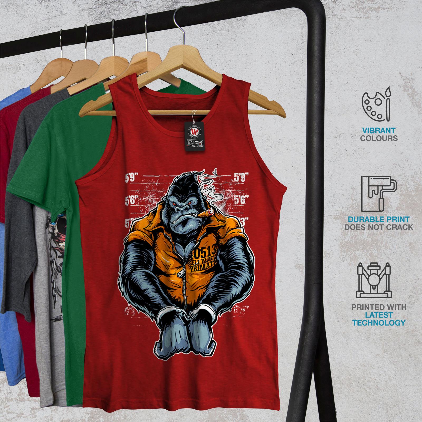 Wild Active Sports Shirt Wellcoda Monkey Ape Prison Mens Tank Top