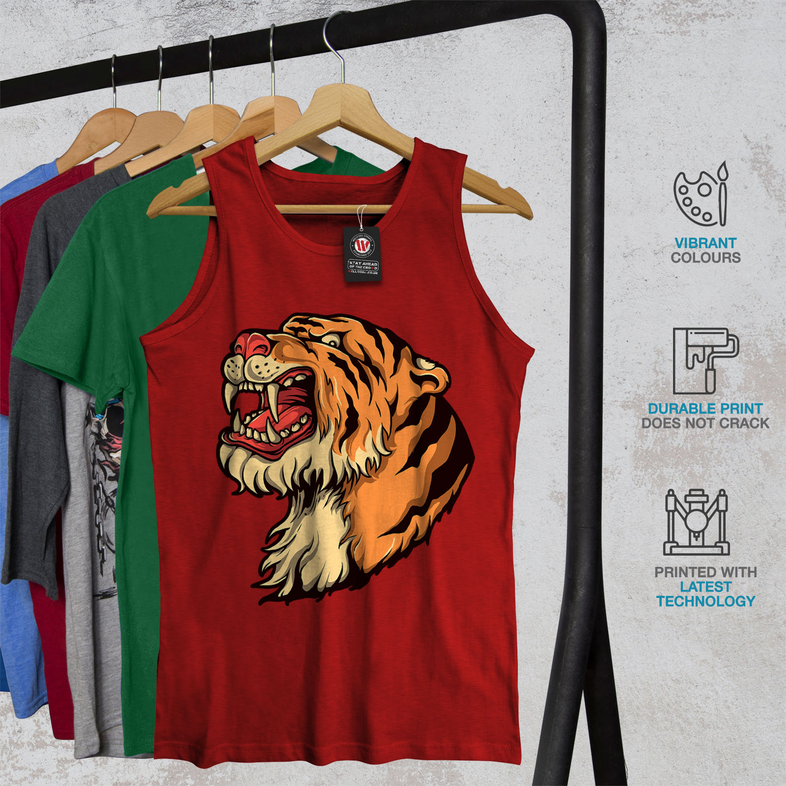 Animal Wellcoda Homme Tank Tiger Head Top Cartoon qPPIZB