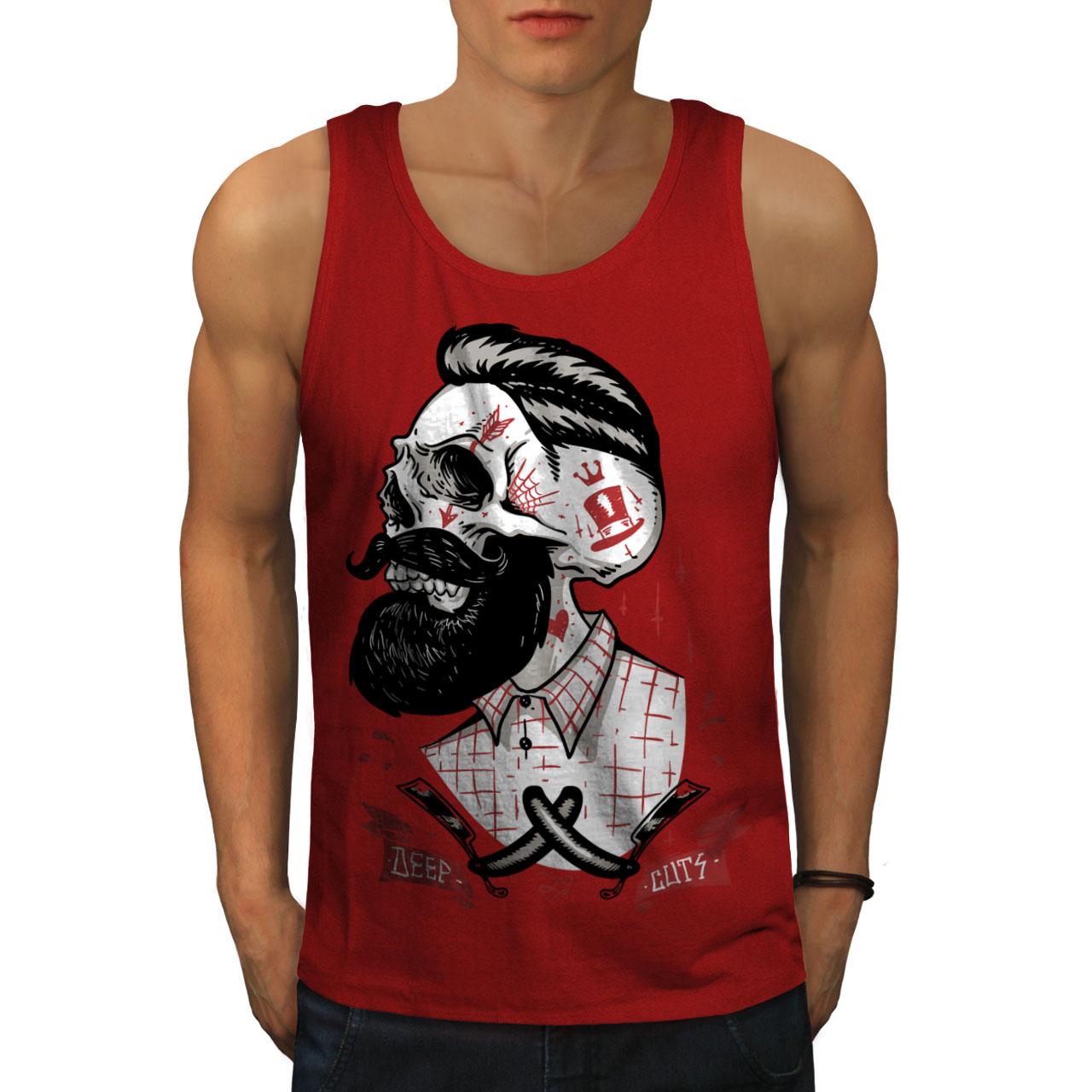 Wellcoda-Skull-Hippie-Beard-Mens-Tank-Top-Movement-Active-Sports-Shirt thumbnail 7