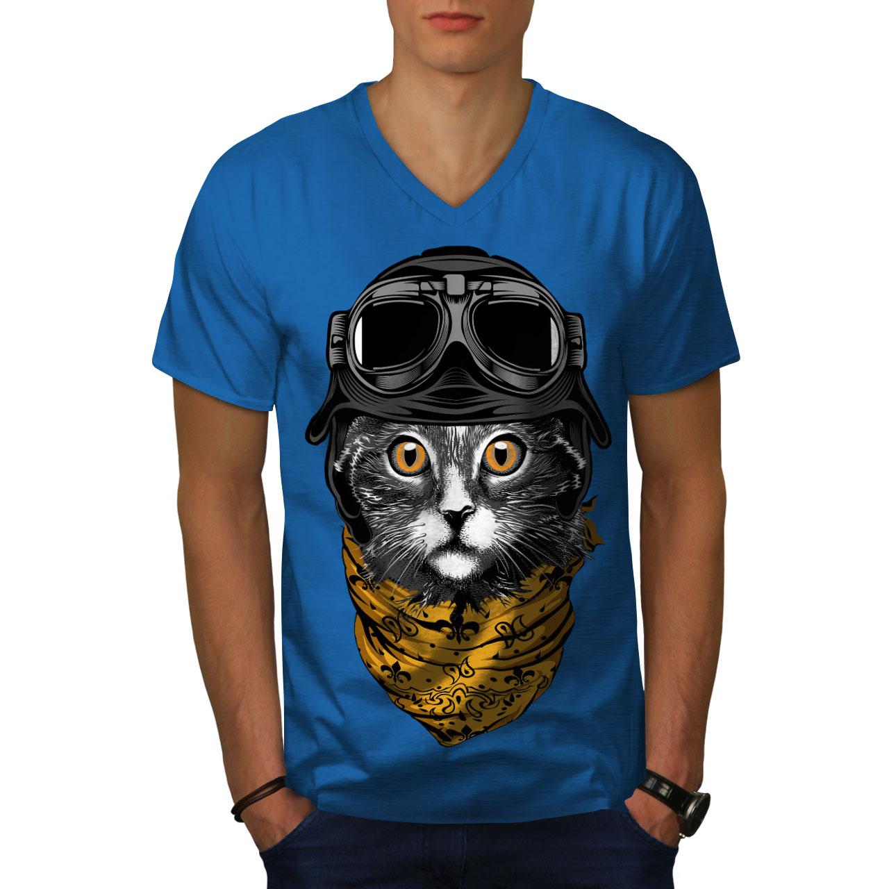 Cat-LINDO-piloto-de-moda-de-hombre-con-cuello-en-V-T-shirt-new-wellcoda