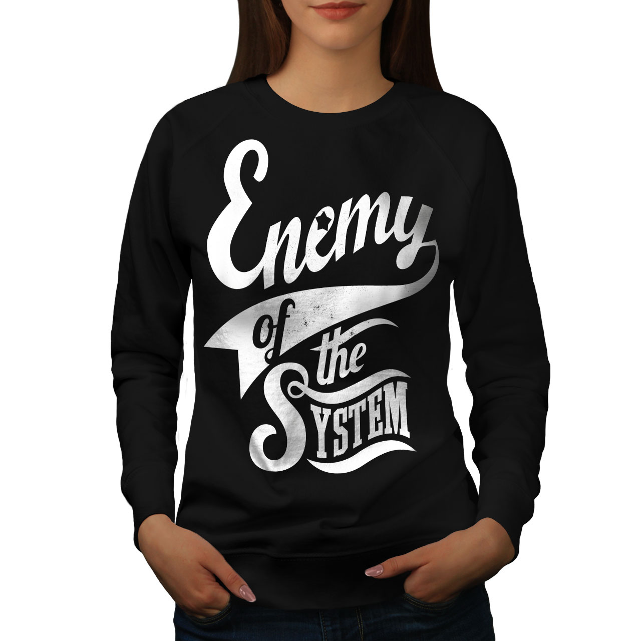 Funny Casual Jumper wellcoda System Enemy Funny Mens Sweatshirt