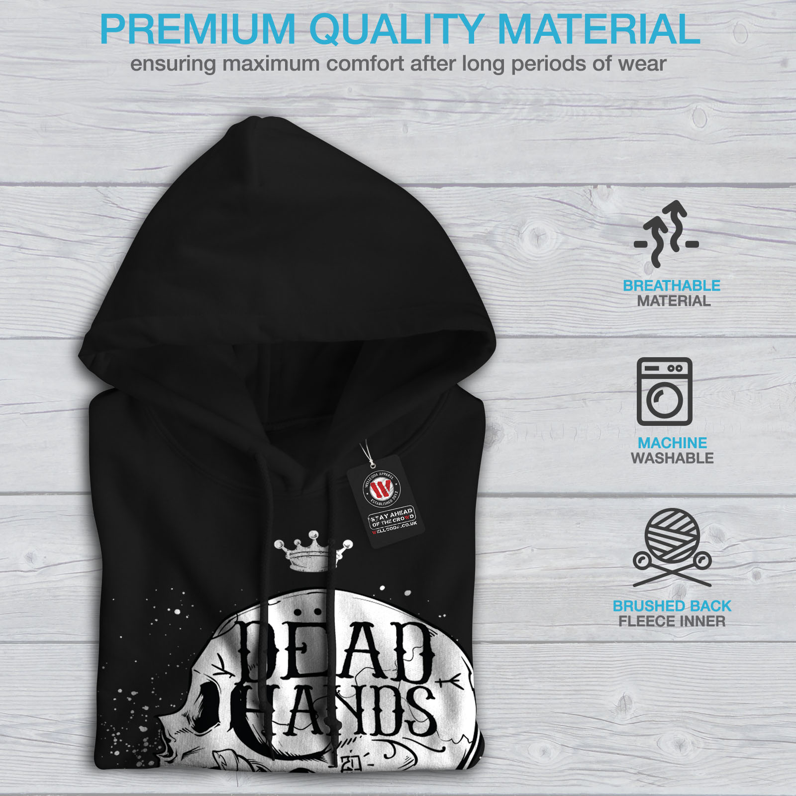 Wellcoda Dead Hand Goth Womens Hoodie Skull Casual Hooded Sweatshirt