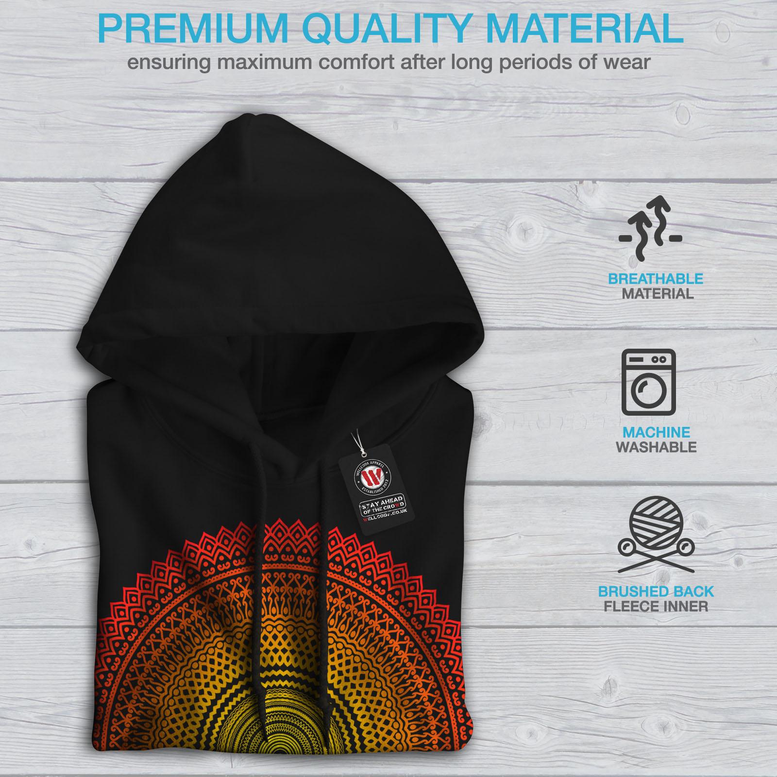 Wellcoda Mandala Art Round Womens Hoodie Graphic Casual Hooded Sweatshirt