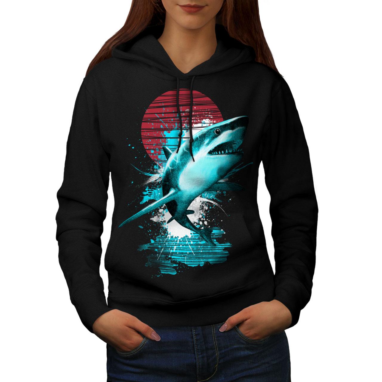 Ocean Hunt Casual Pullover Jumper Wellcoda Great White Shark Mens Sweatshirt