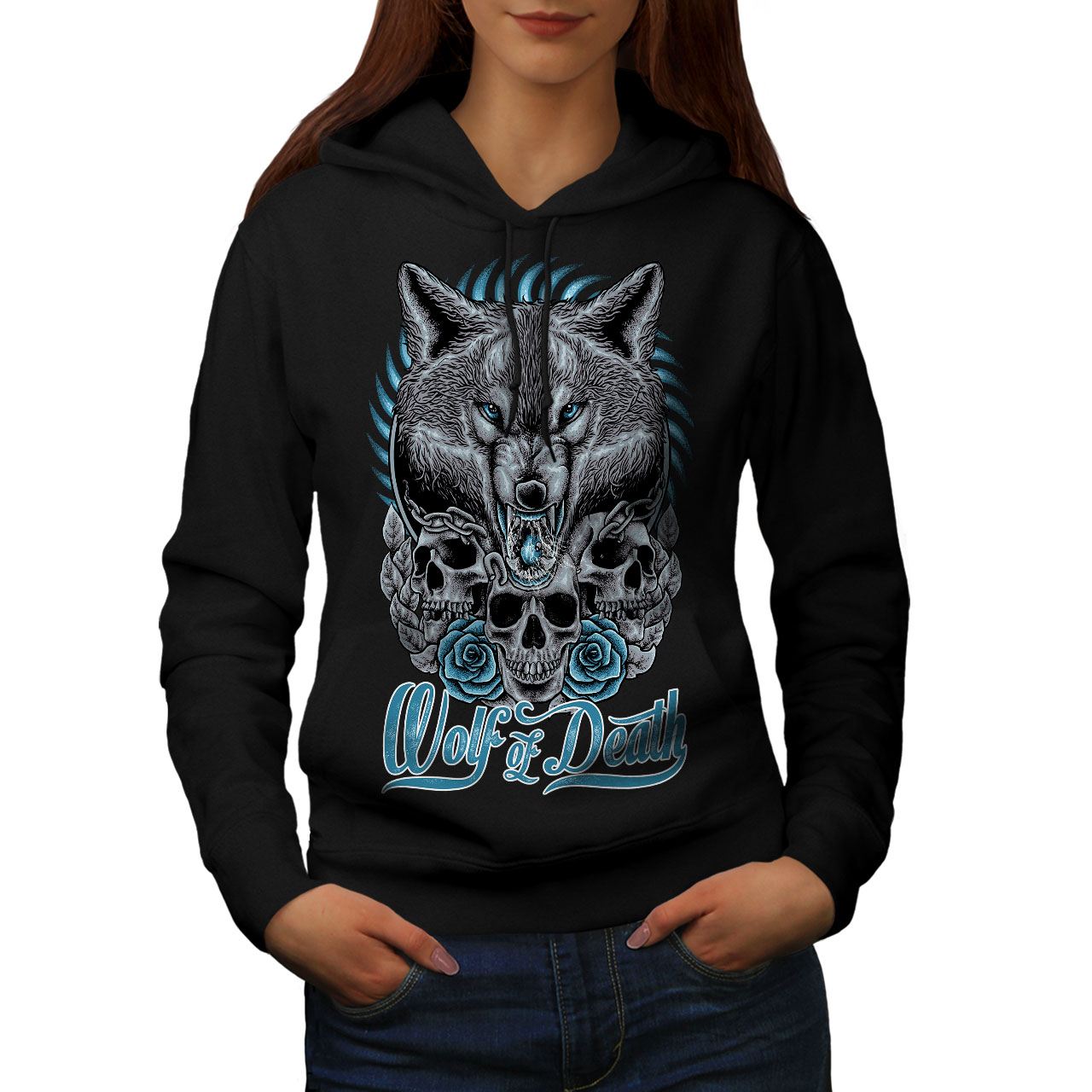 Wellcoda Wolf Of Death Art Animal Womens Hoodie Casual Hooded Sweatshirt