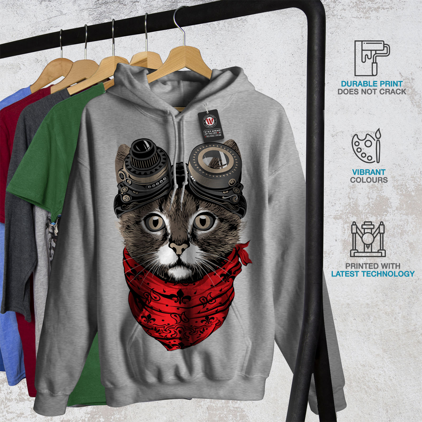 Wellcoda Aviateur Fashion Cool Cat Femme Sweat à capuche Casual Sweat à capuche