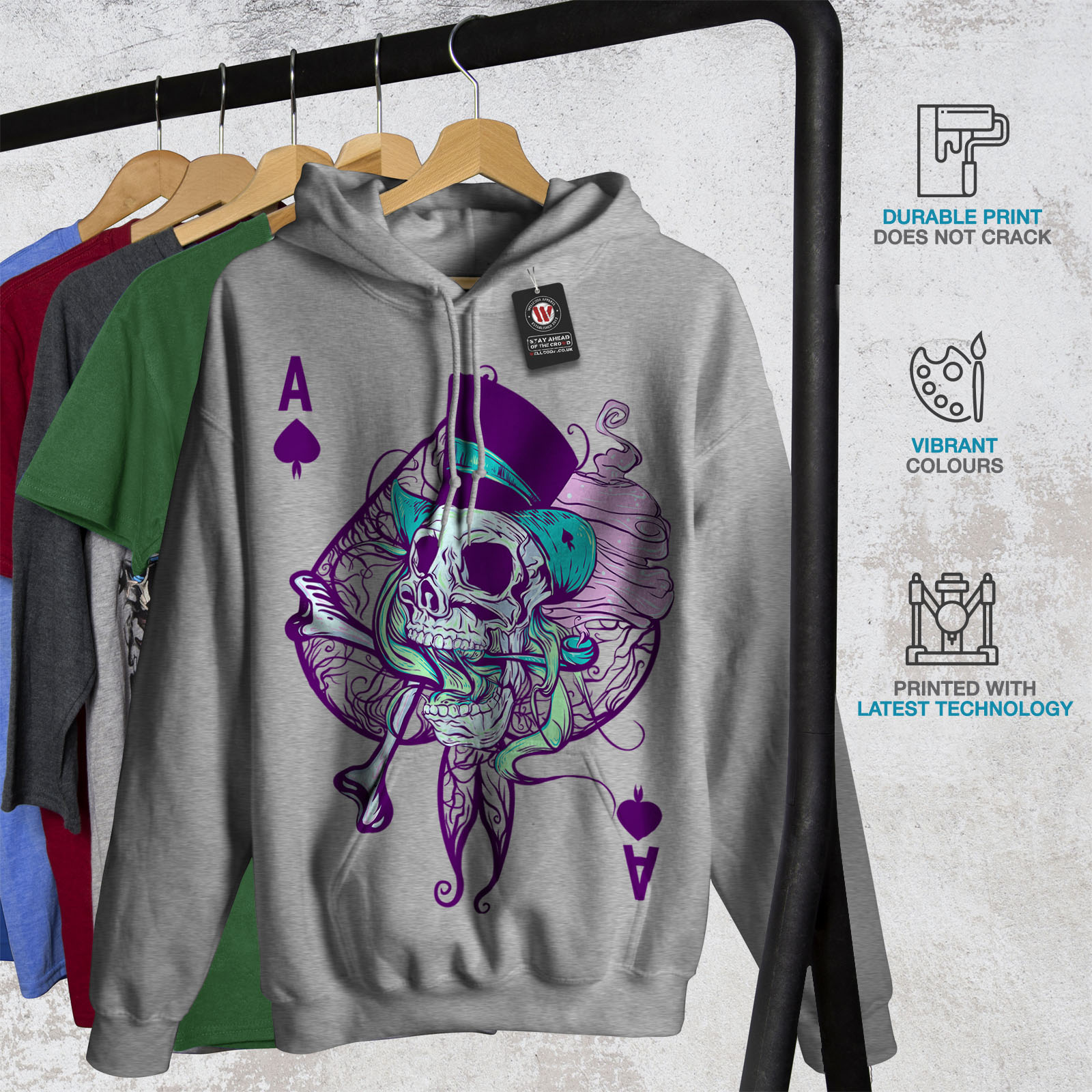 Wellcoda-Ace-Spade-Card-Skull-Womens-Hoodie-Casual-Hooded-Sweatshirt Indexbild 8