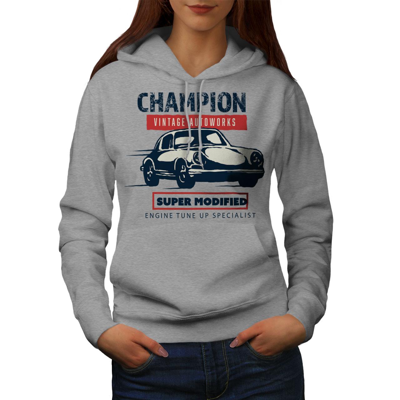 Il Migliore Wellcoda Champion Auto Da Corsa Vintage Da Donna Felpa Con Cappuccio, Casual Con Cappuccio Felpa-mostra Il Titolo Originale Fabbricazione Abile