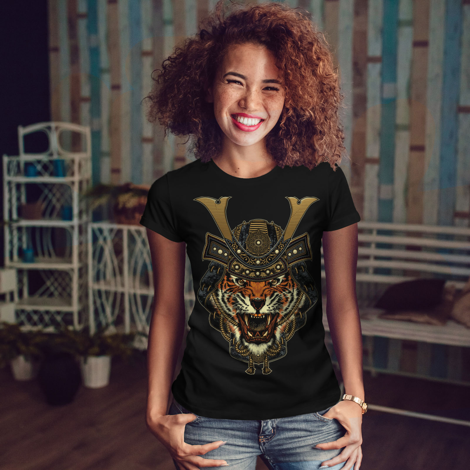 Wellcoda guerrier tigre Cool Animal T-shirt Imprimé femme, 0 Casual Design Imprimé T-shirt Tee 6875b2