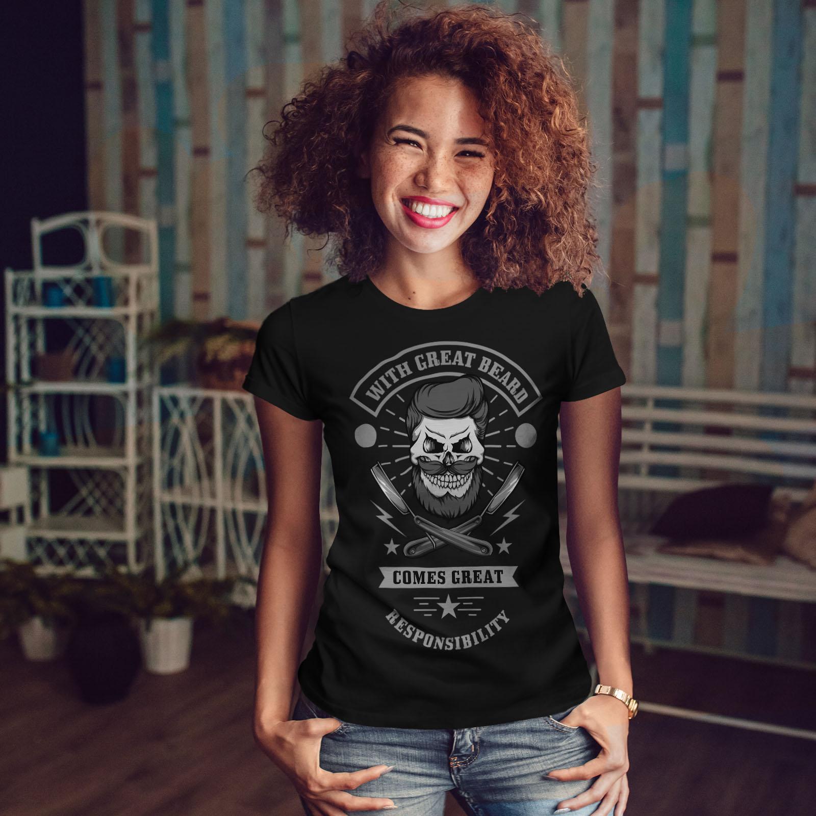 miniature 4 - Wellcoda Great Beard Style Funny Womens T-shirt,  Casual Design Printed Tee