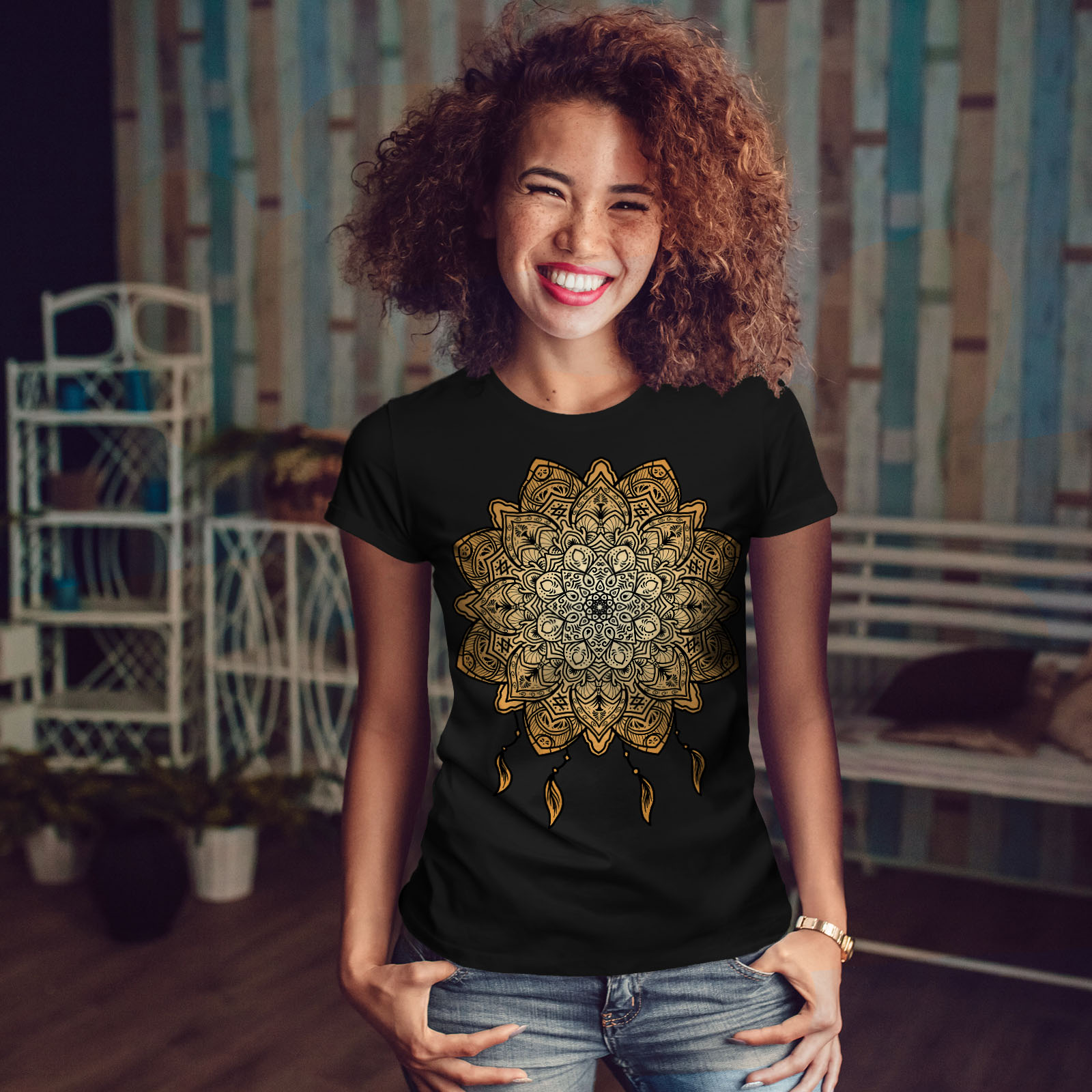 Wellcoda-Mandala-Yoga-Womens-T-shirt-Spiritual-Casual-Design-Printed-Tee thumbnail 4