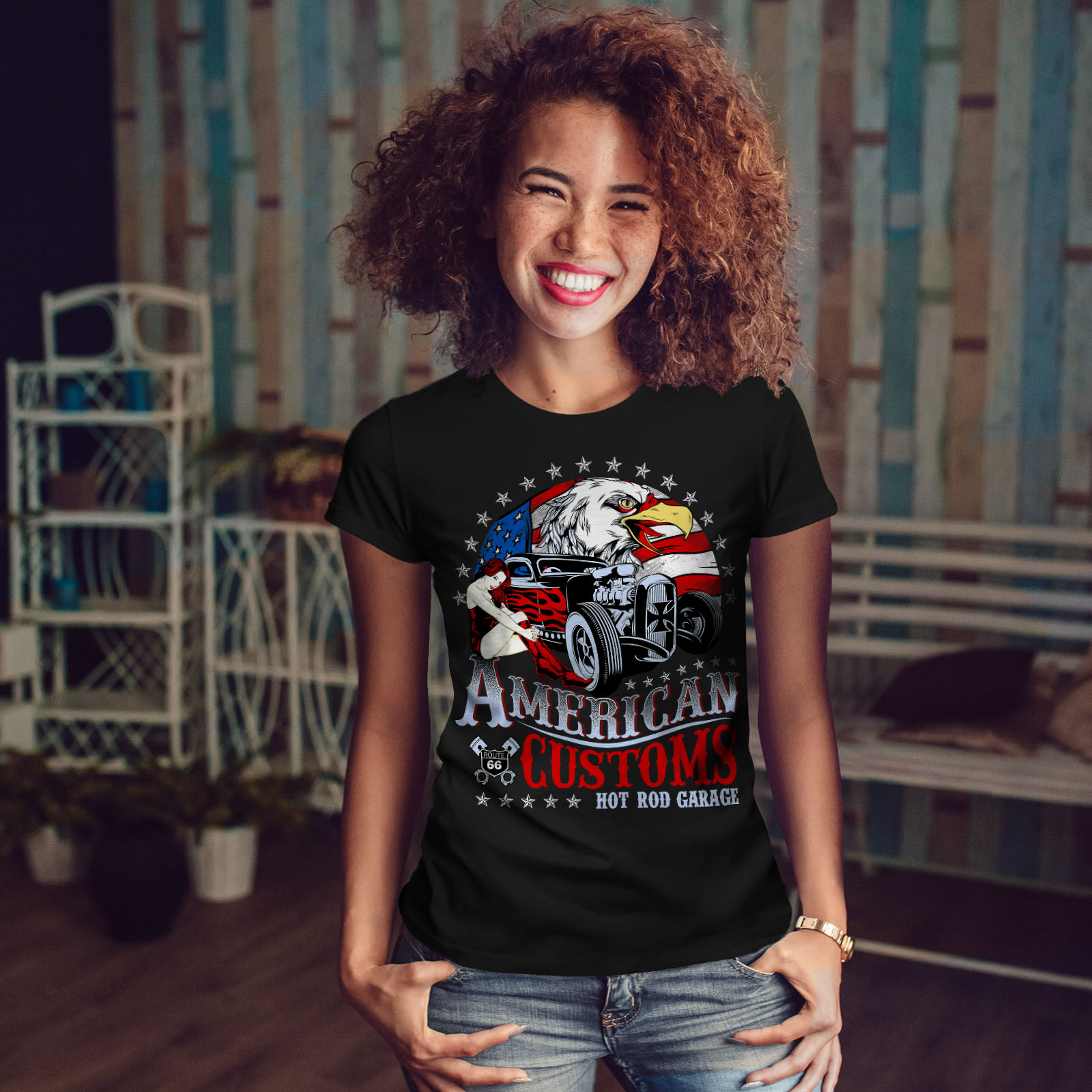 AMERICA-doganale-T-SHIRT-DONNA-NUOVA-wellcoda