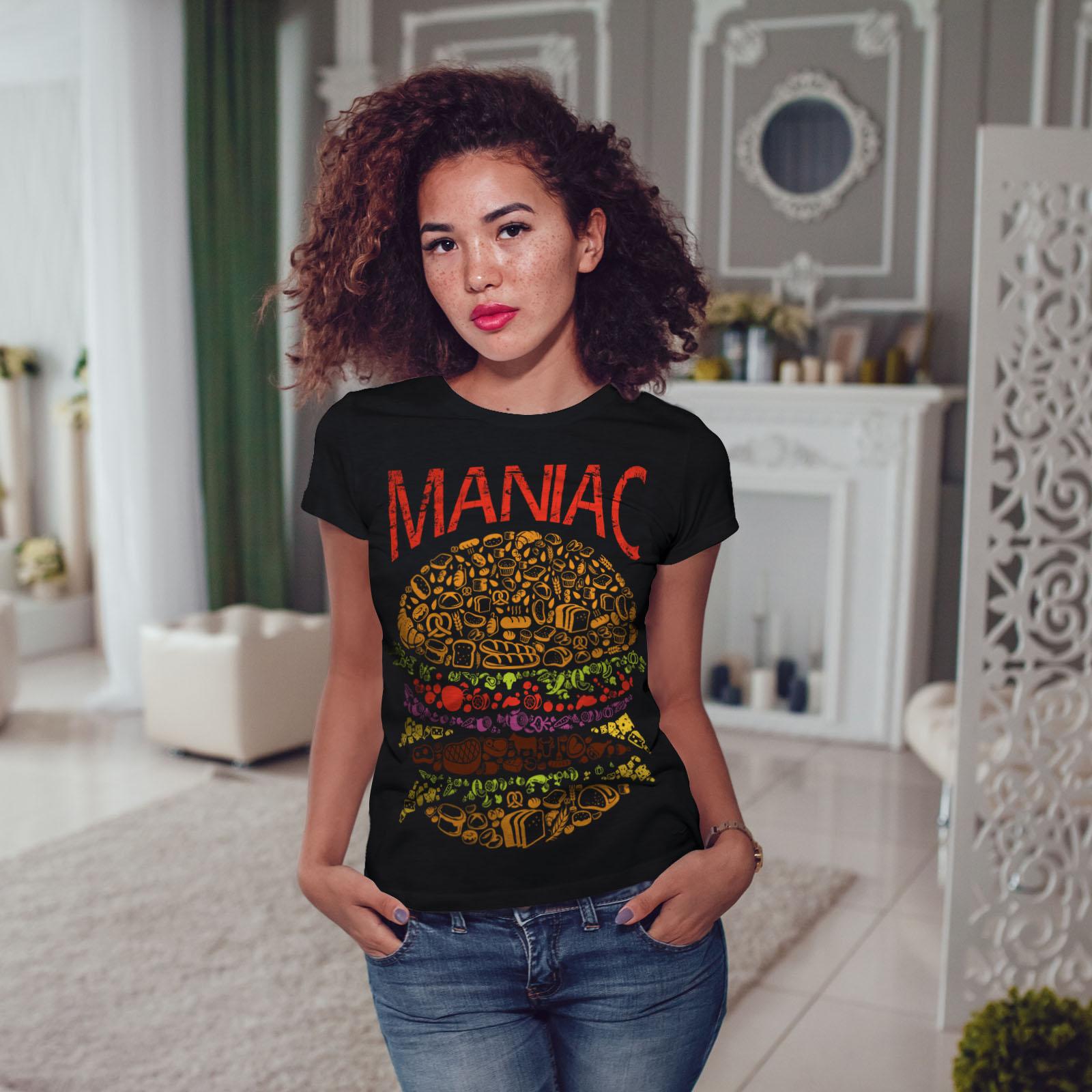 Burger-cibo-spazzatura-Donne-Fast-T-shirt-Nuove-wellcoda miniatura 5